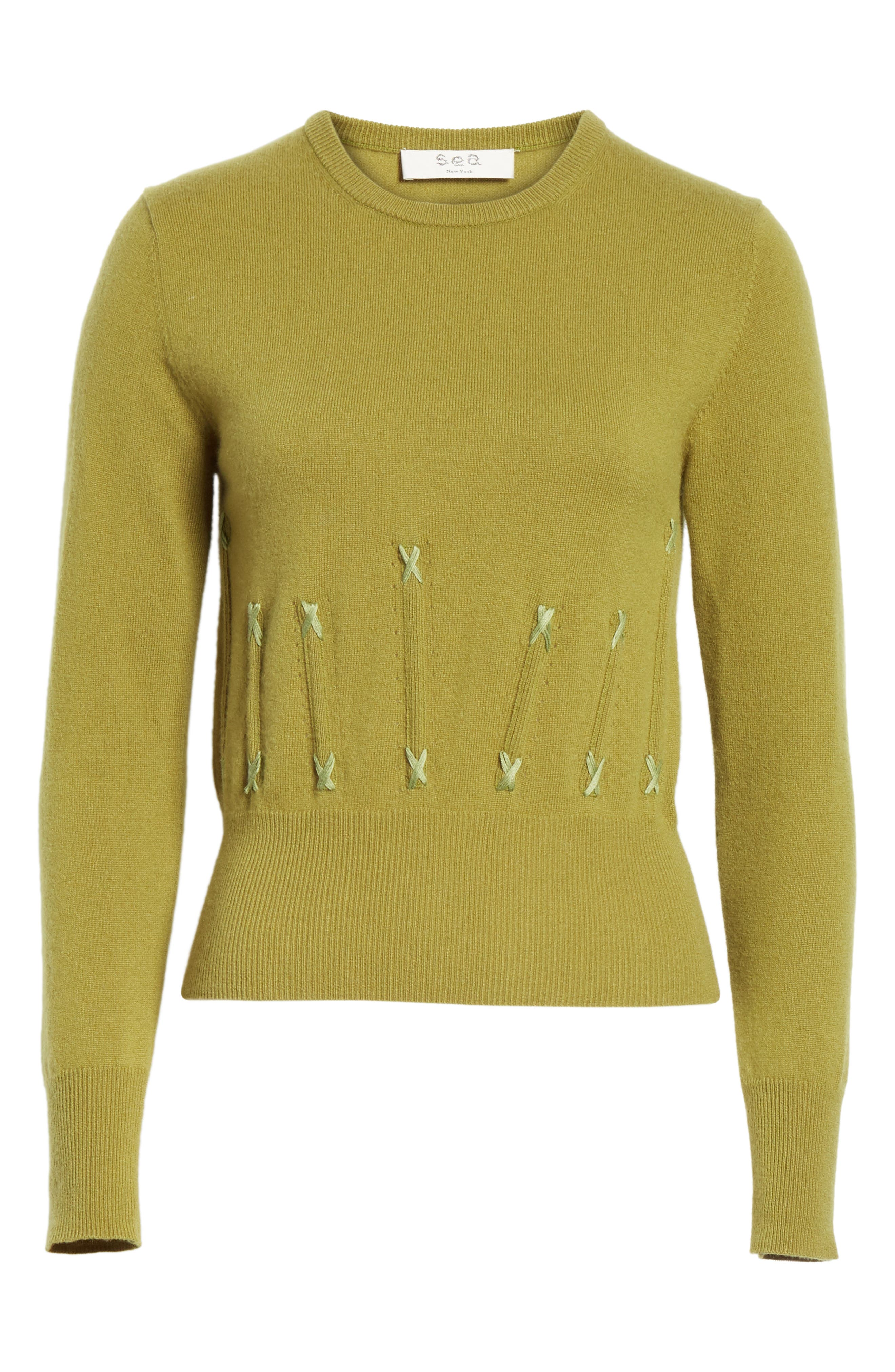 Cailyn Corset Knit Cashmere Sweater,                             Alternate thumbnail 6, color,                             GREEN