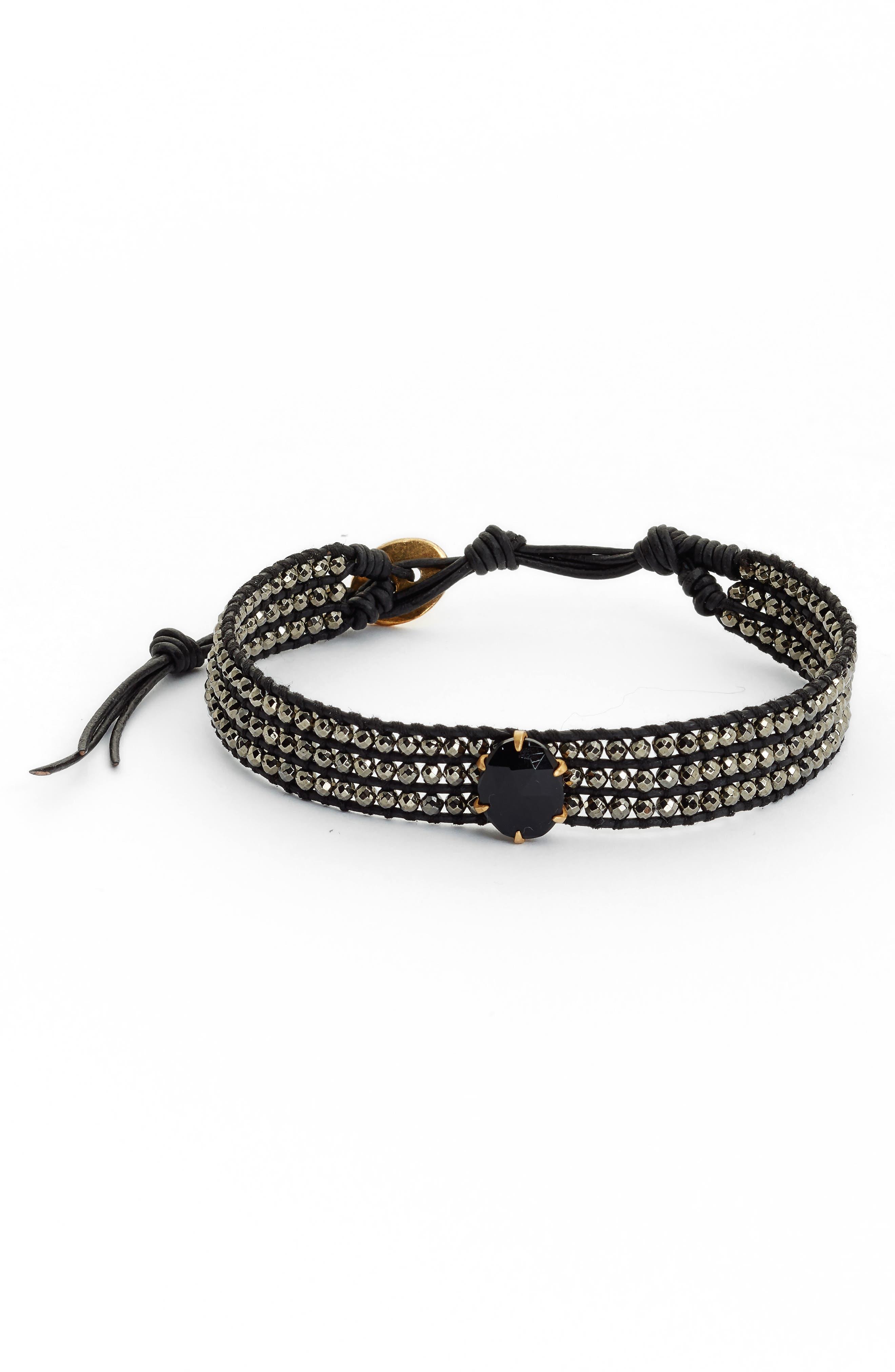 Semiprecious Stone Statement Bracelet,                         Main,                         color, ONYX MIX