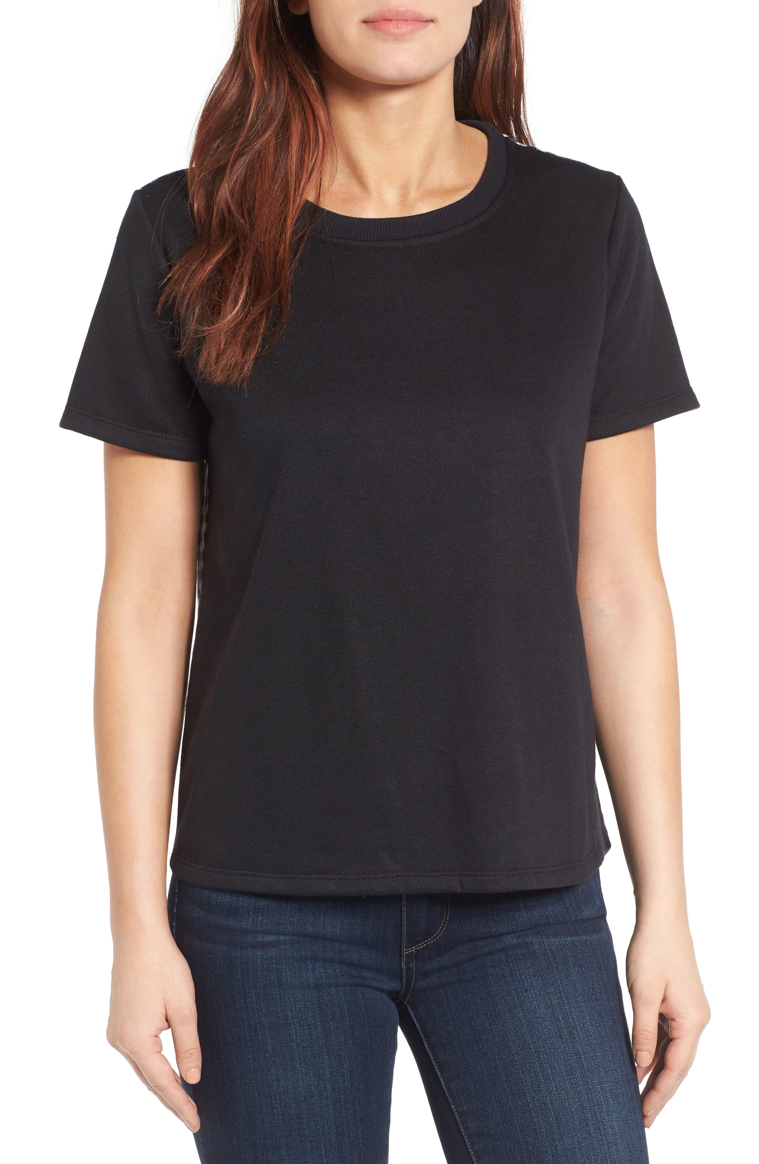 Woven Back French Terry Sweatshirt,                         Main,                         color, 001