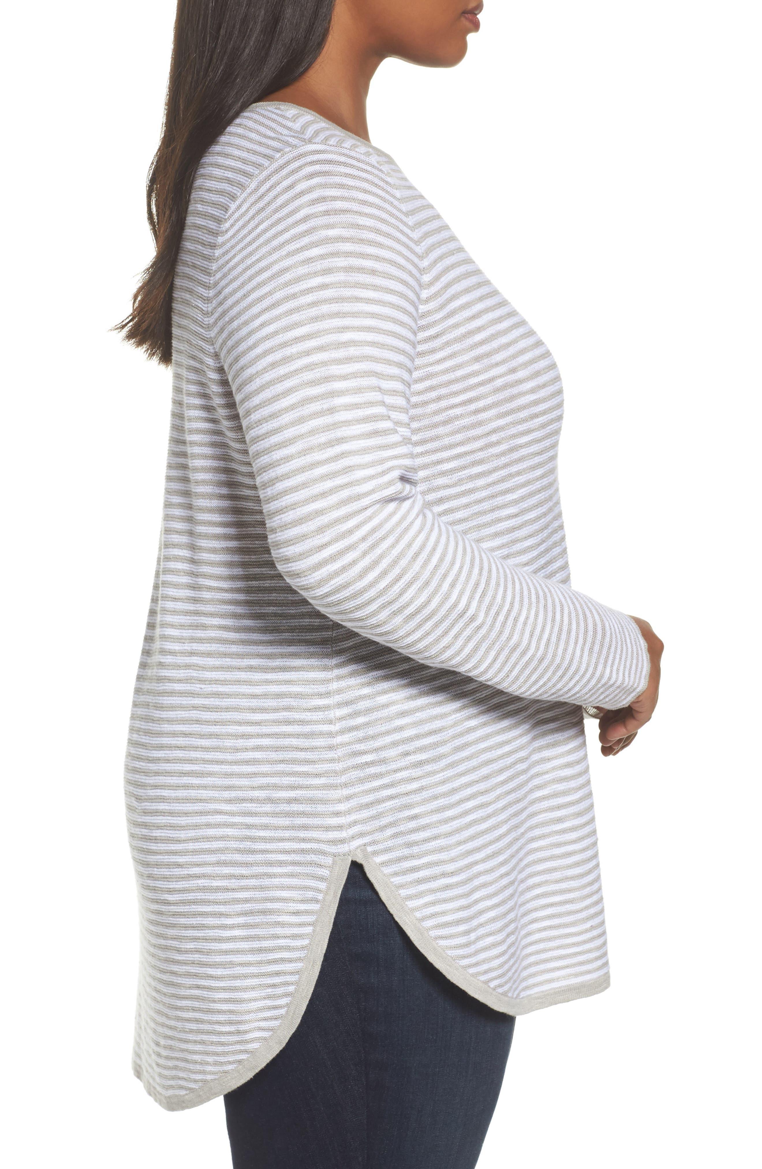 Stripe Organic Linen & Cotton Sweater,                             Alternate thumbnail 5, color,