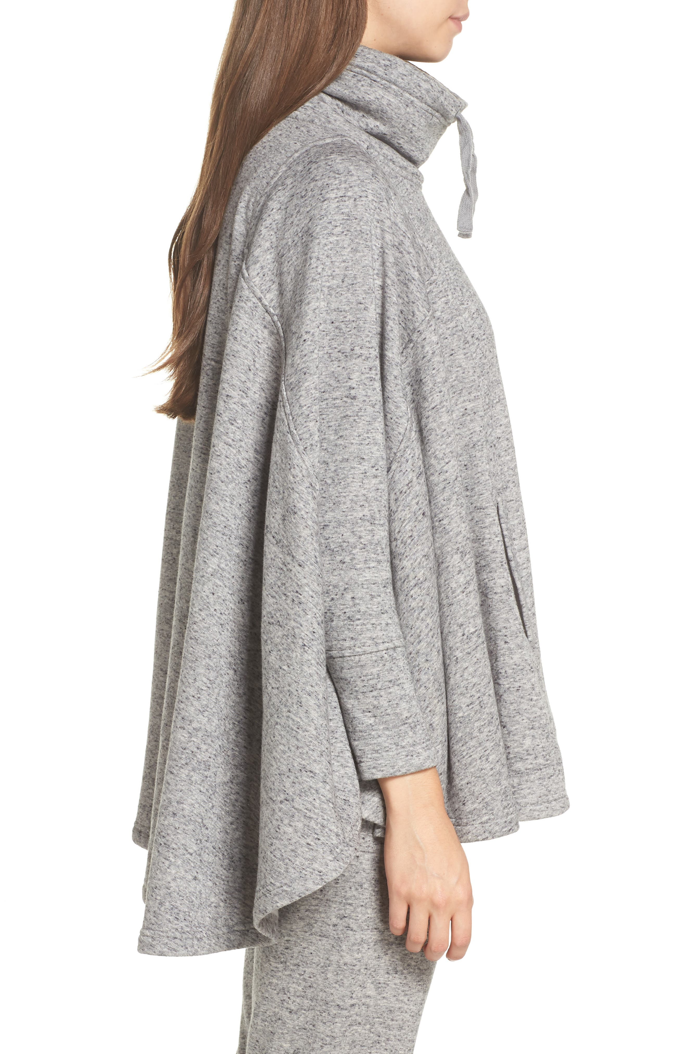 Pichot Turtleneck Poncho,                             Alternate thumbnail 3, color,                             GREY HEATHER