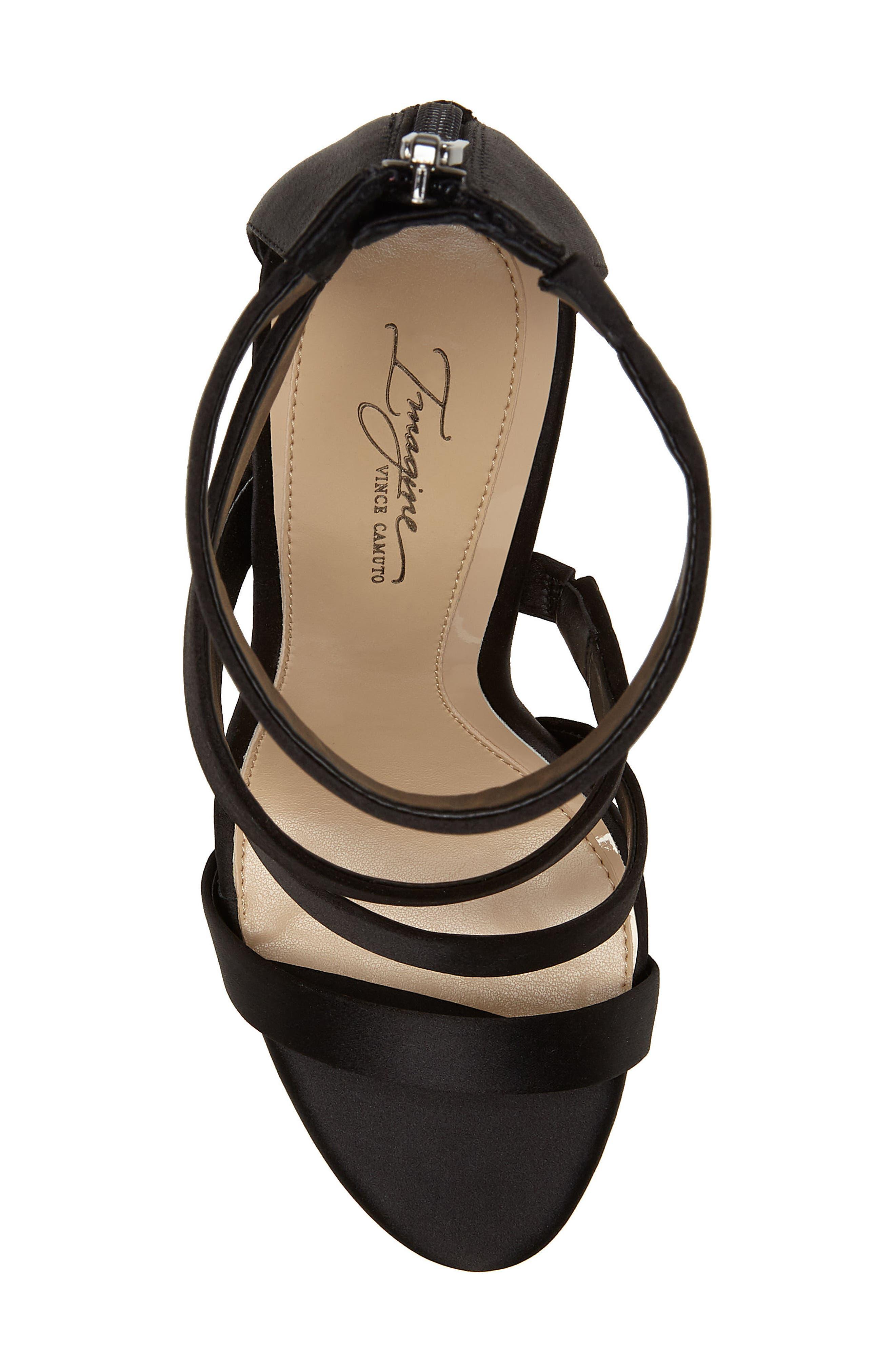 Imagine Vince Camuto Dalles Tall Strappy Sandal,                             Alternate thumbnail 5, color,                             BLACK SATIN