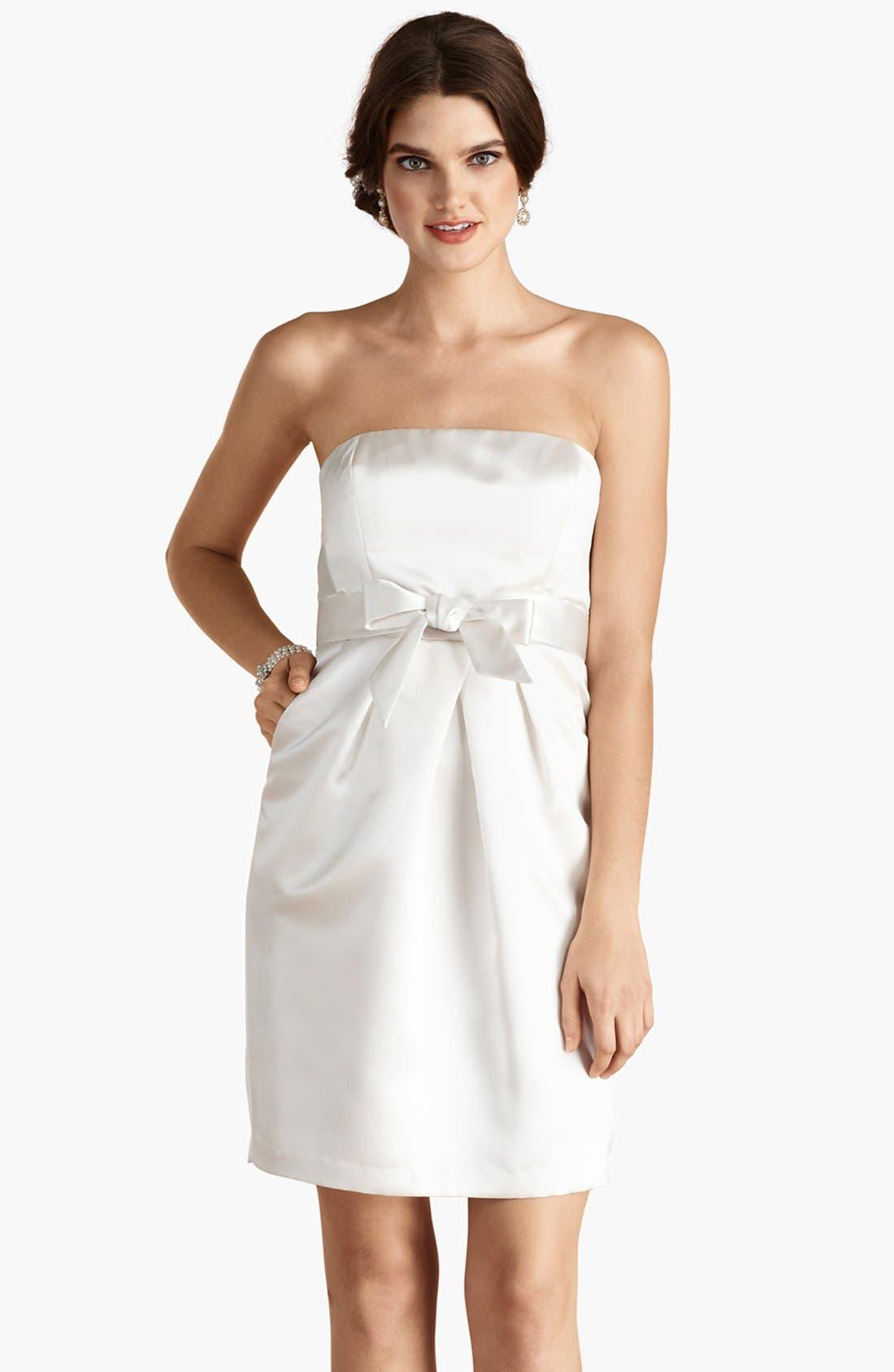 'Savannah' Strapless Satin Sheath Dress,                             Main thumbnail 1, color,
