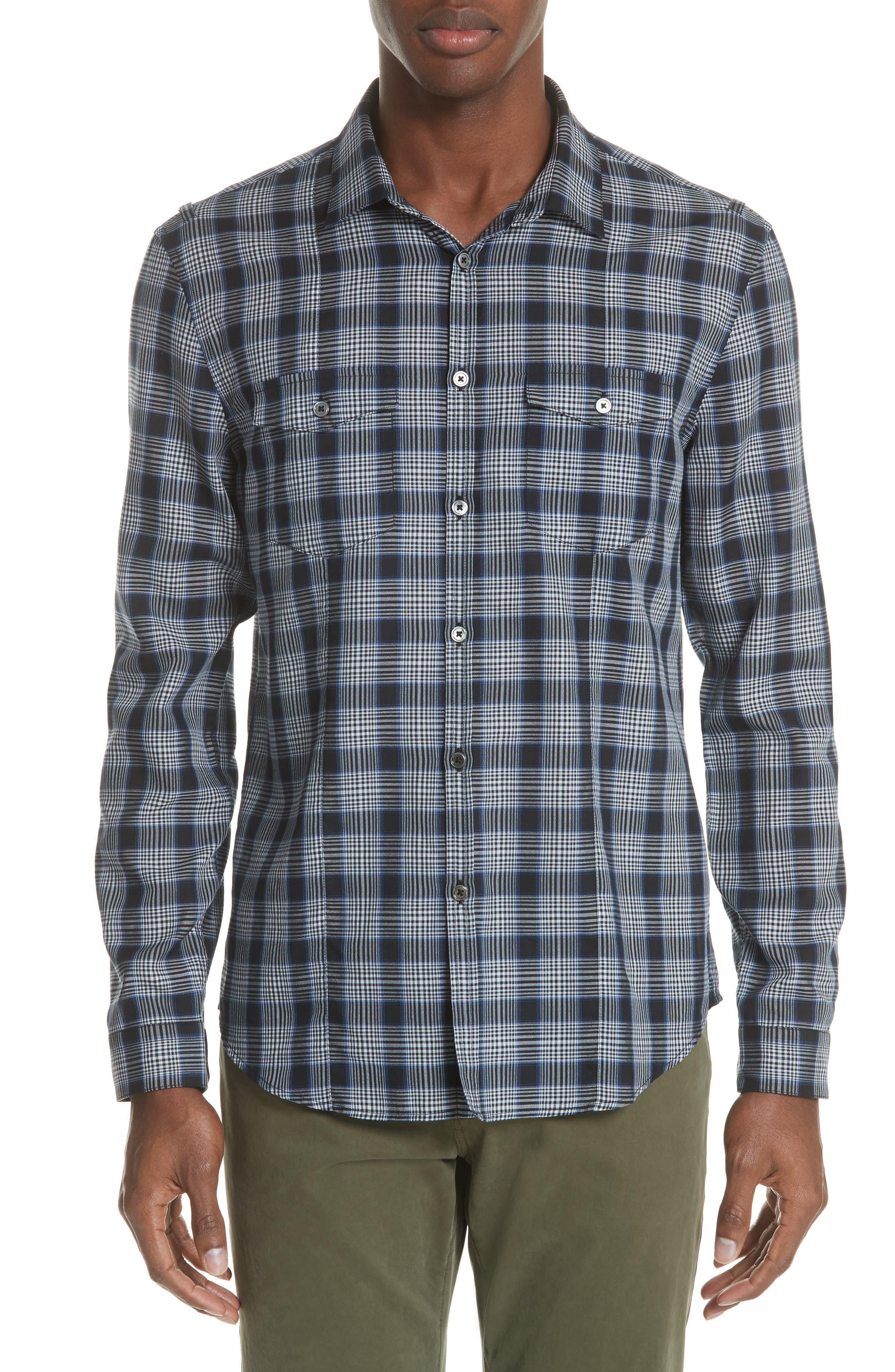 Slim Fit Plaid Sport Shirt,                         Main,                         color, MIDNIGHT