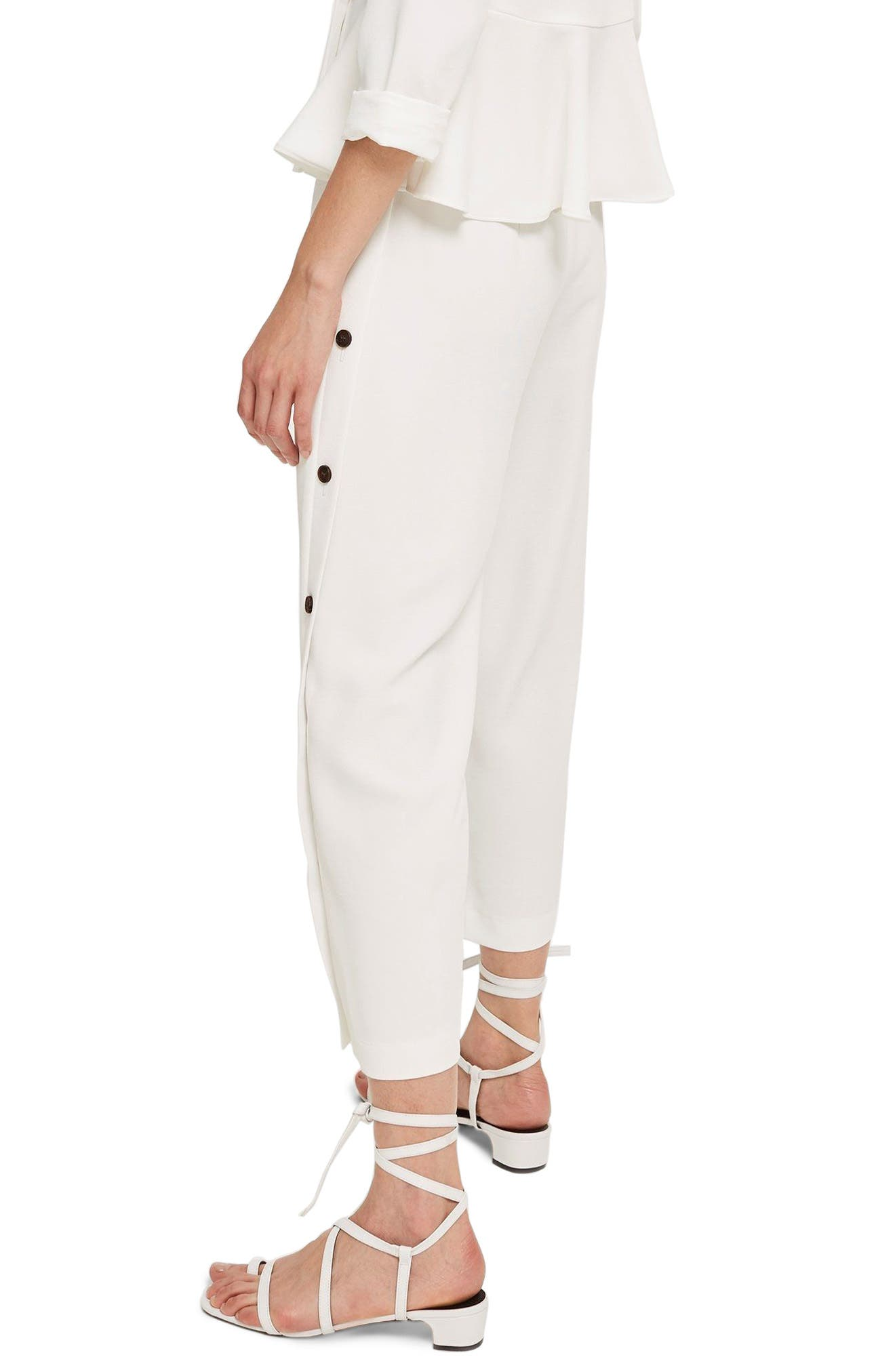 Horn Button Side Crop Wide Leg Trousers,                             Alternate thumbnail 2, color,                             100