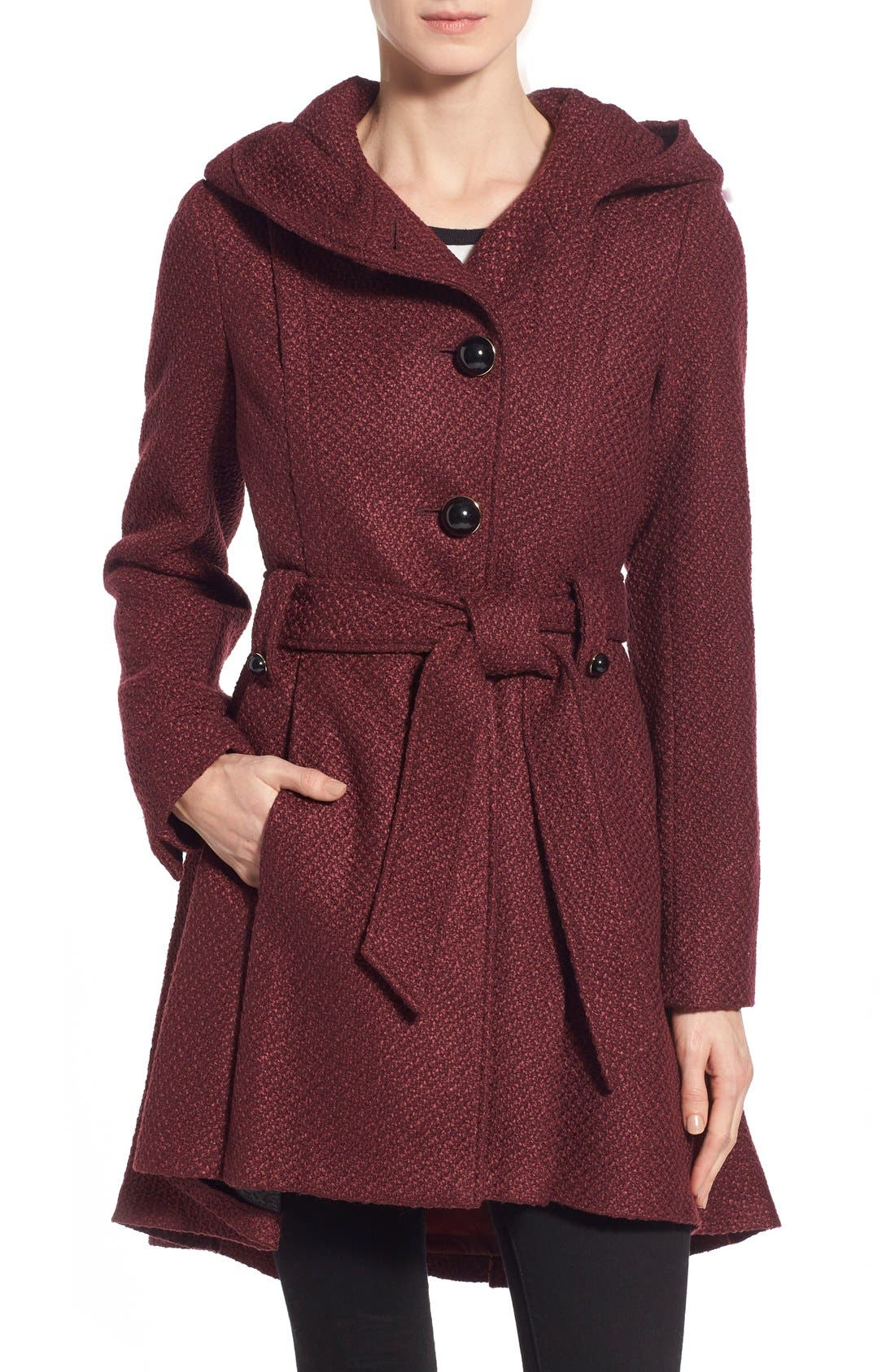 Belted Hooded Skirted Coat,                             Main thumbnail 4, color,