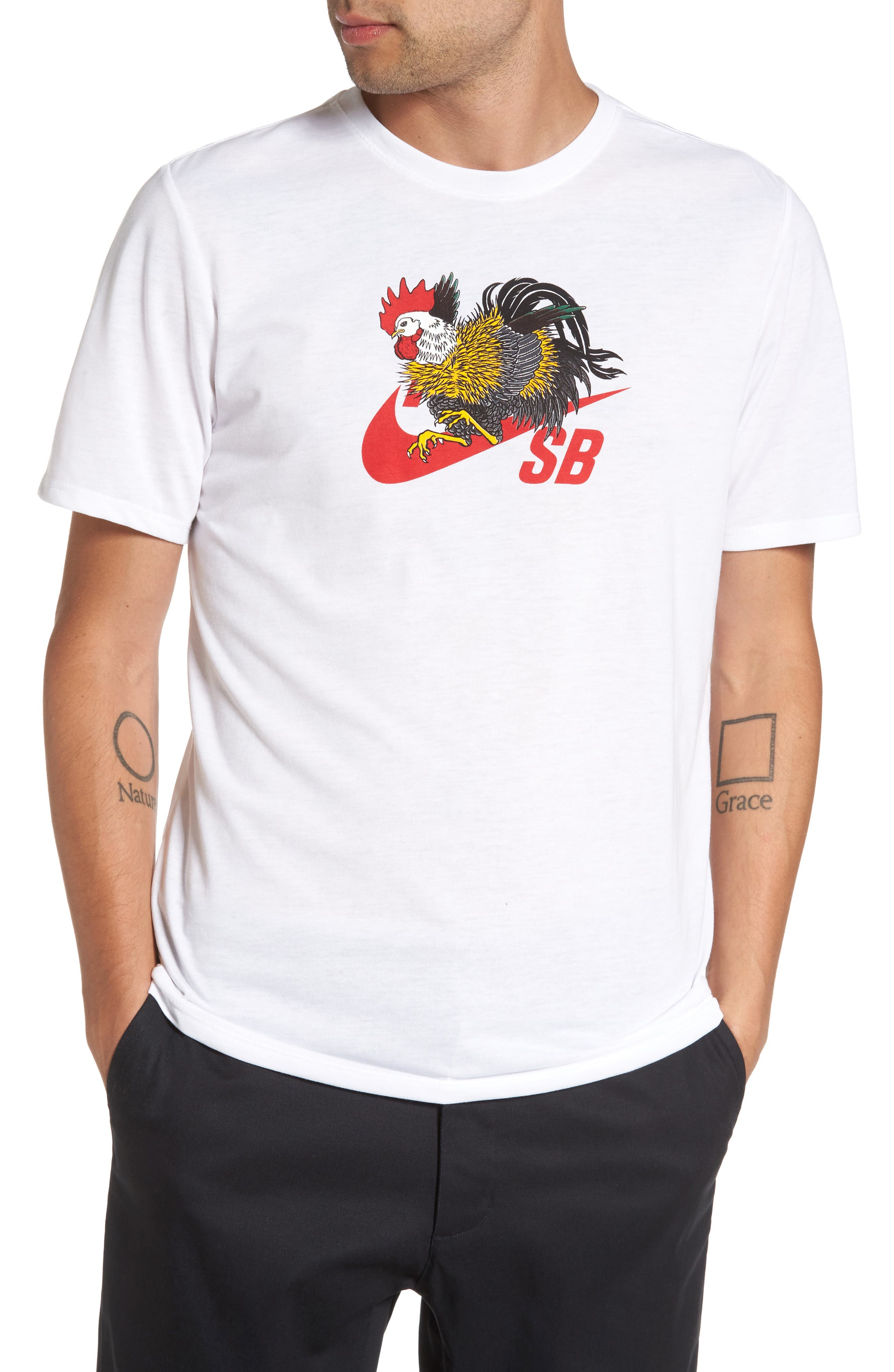NIKE SB Dry Rooster T-Shirt, Main, color, 100