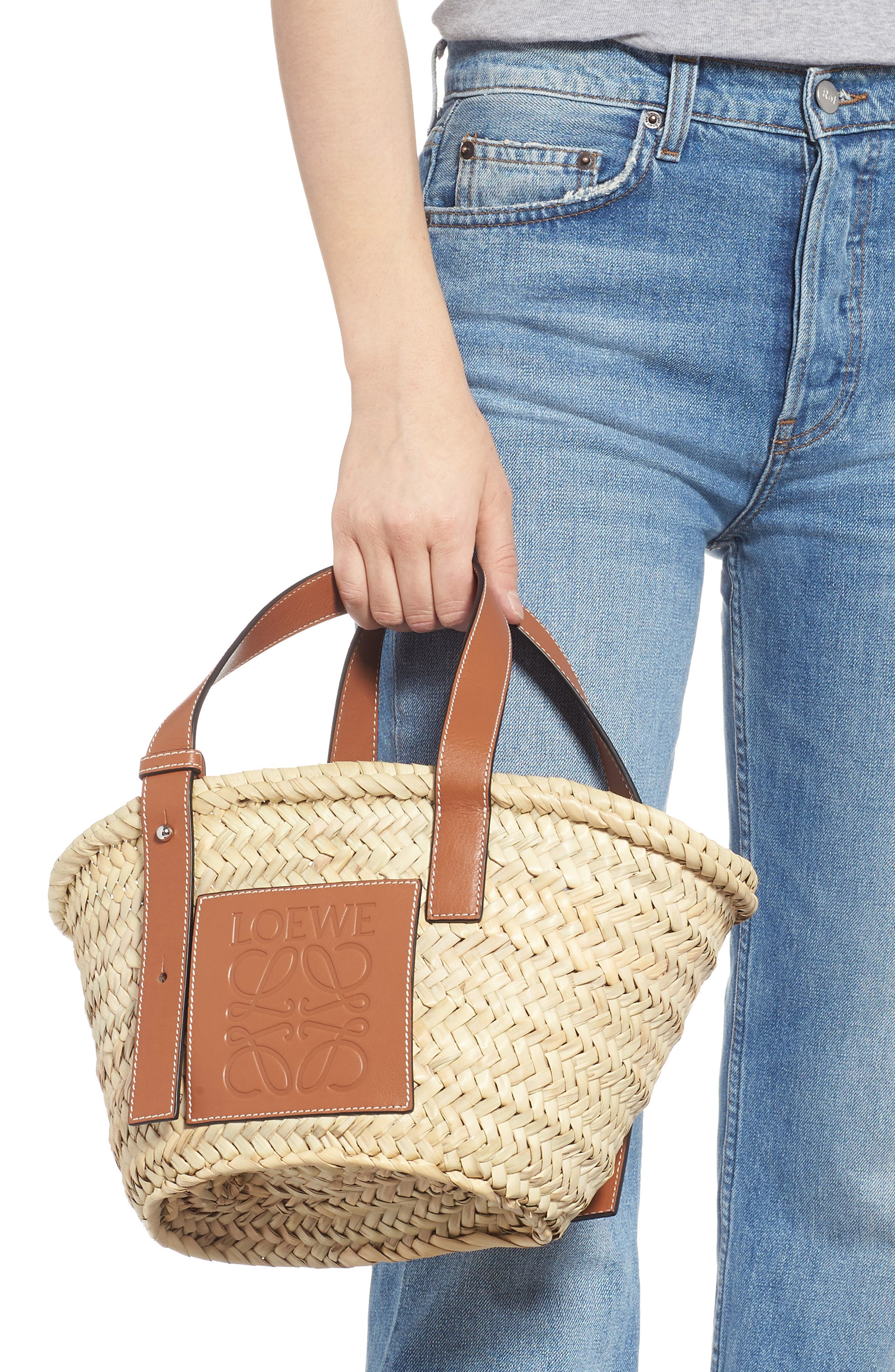 Small Logo Straw Tote,                             Alternate thumbnail 2, color,                             2435 NATURAL/ TAN