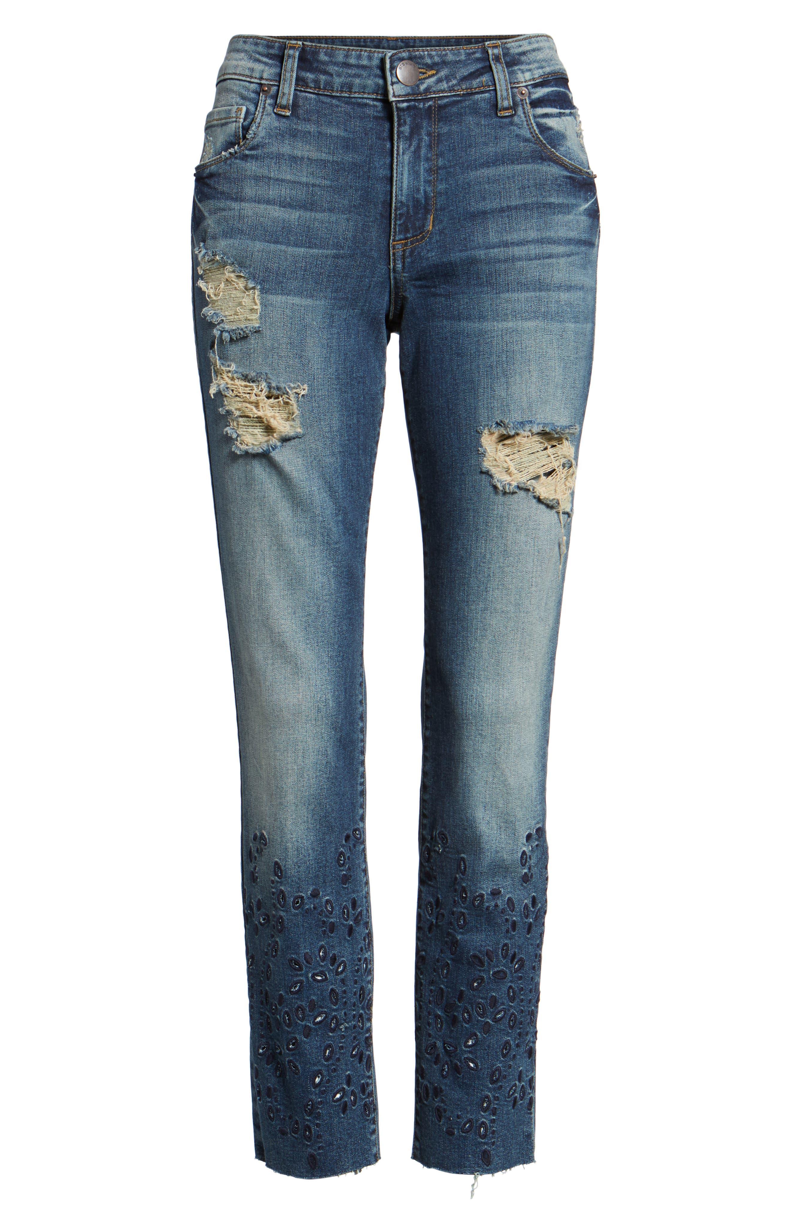 Taylor Ripped Eyelet Straight Leg Jeans,                             Alternate thumbnail 6, color,                             400