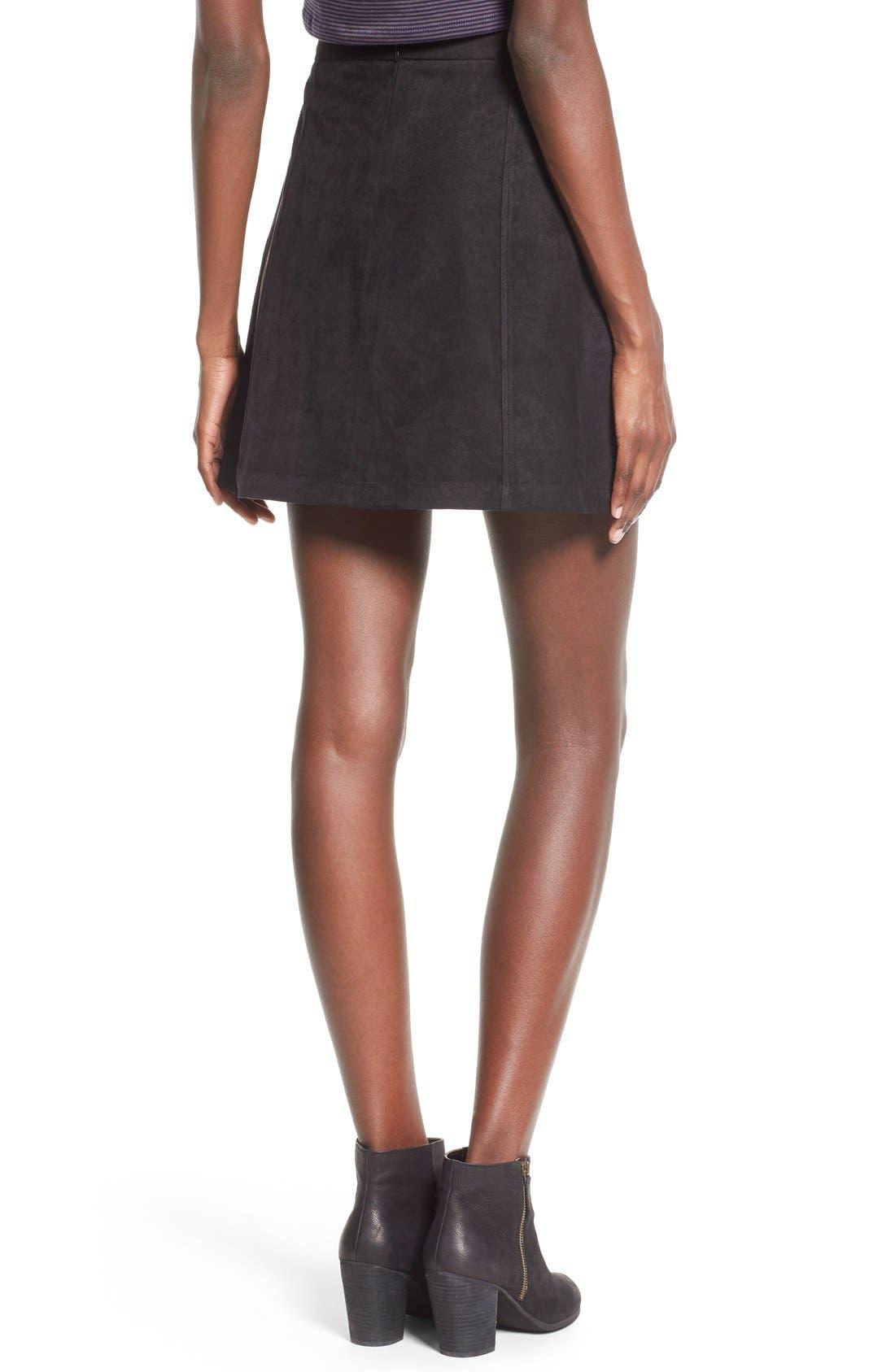 Button Front Faux Suede Skirt,                             Alternate thumbnail 5, color,                             001