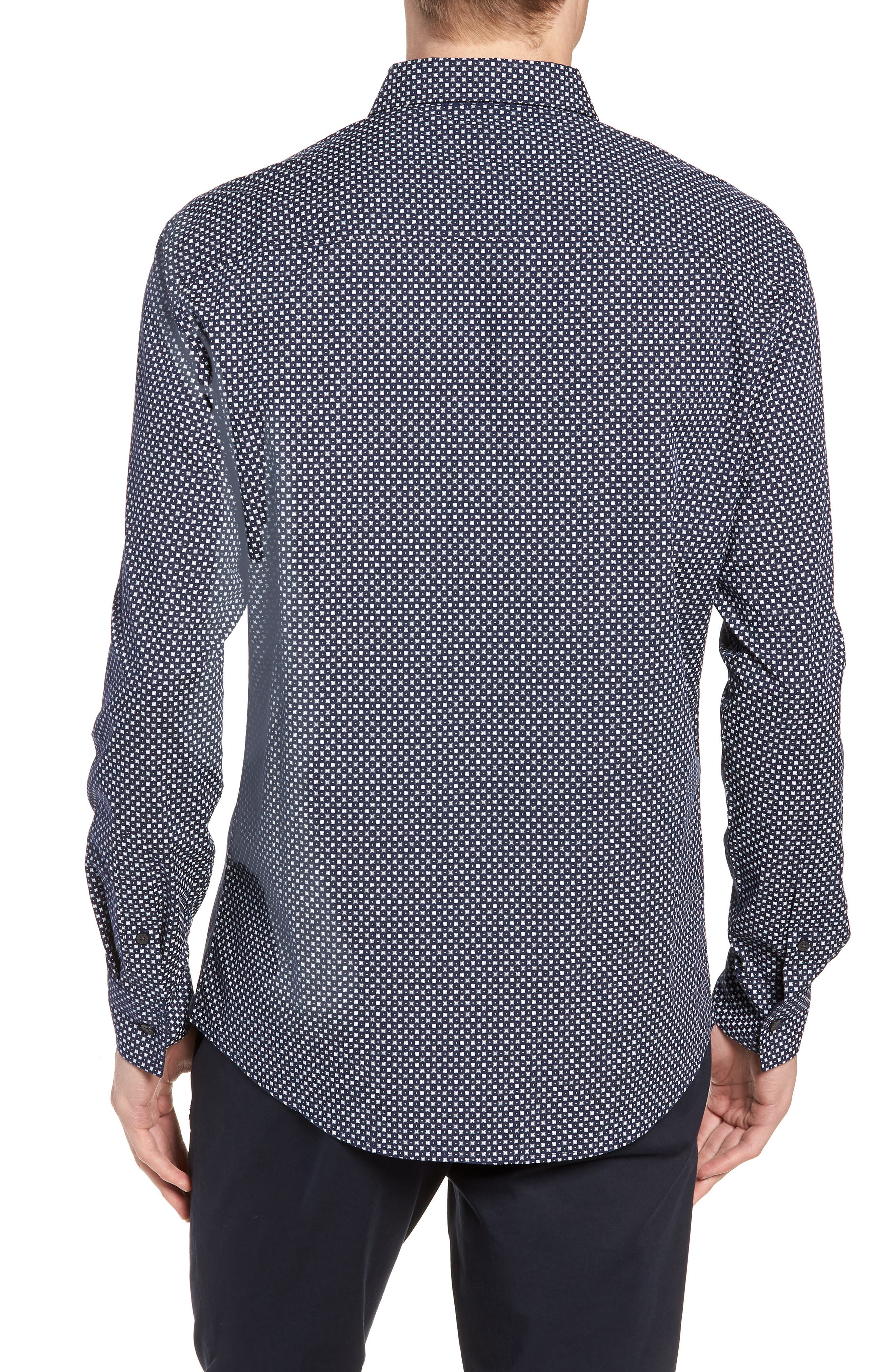 Regular Fit Geometric Dot Sport Shirt,                             Alternate thumbnail 3, color,                             NAVY/ WHITE POPLIN PRINT