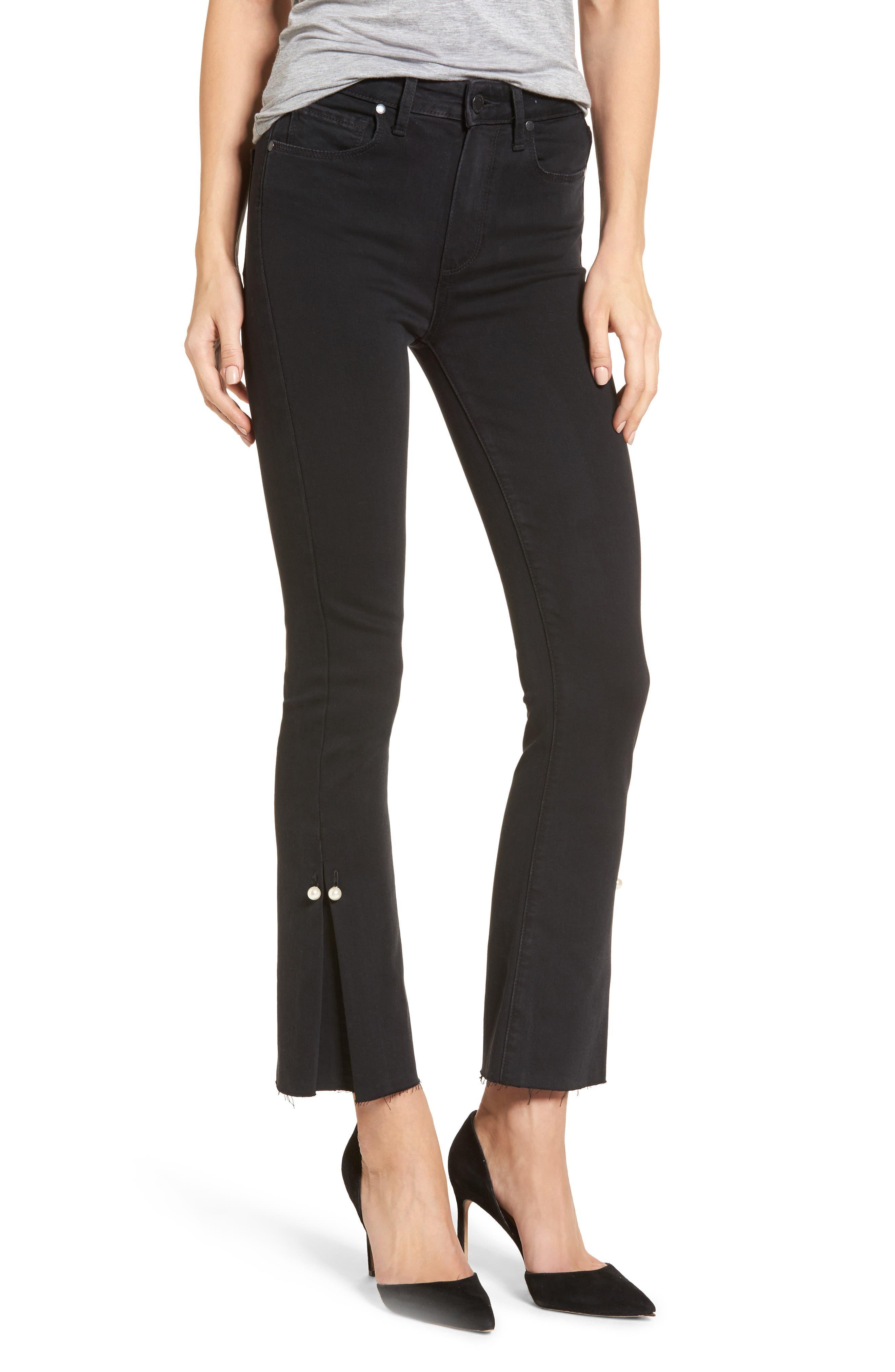 Transcend - Colette High Waist Crop Flare Jeans,                         Main,                         color, 001