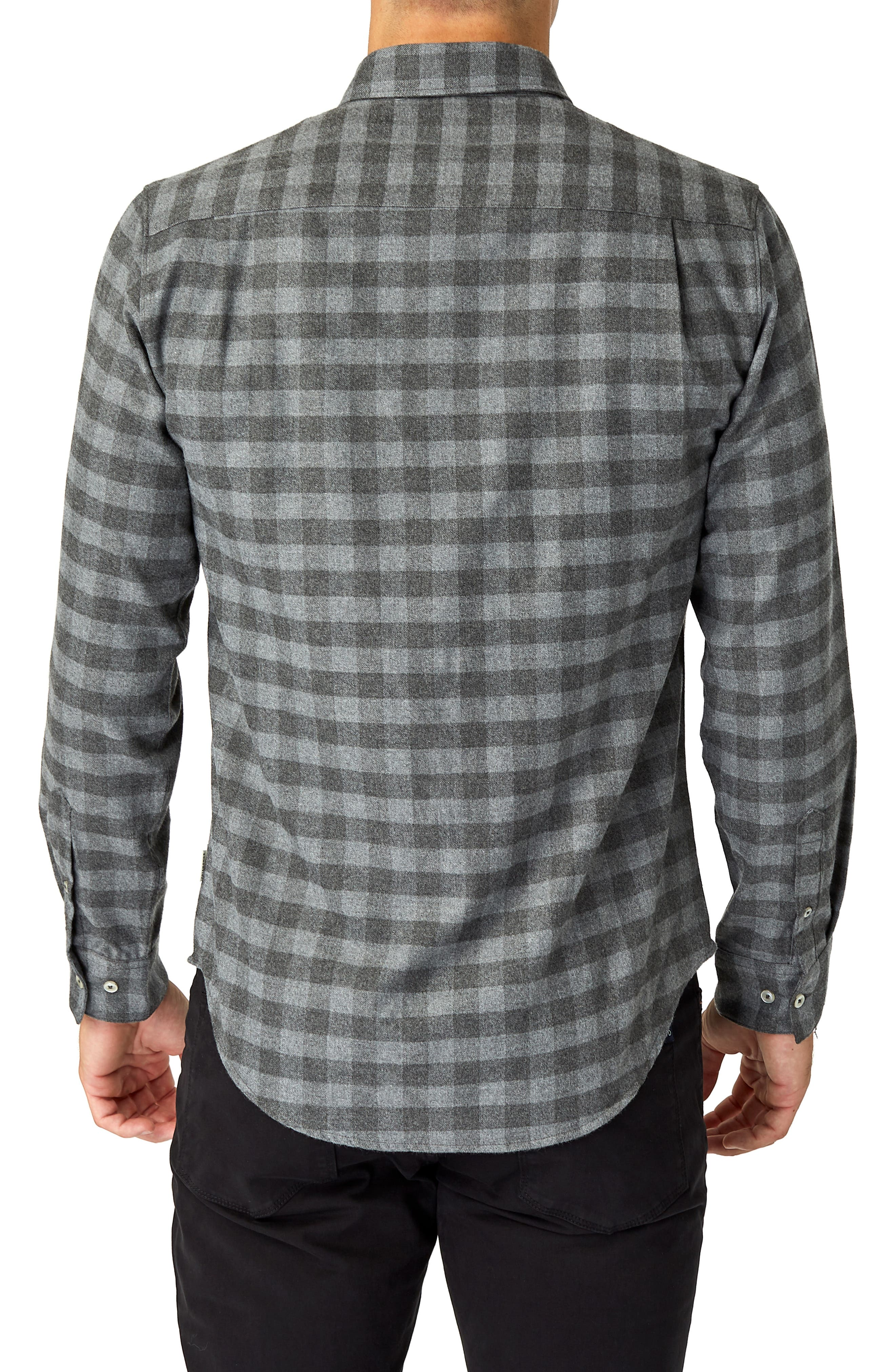 Asher Trim Fit Flannel Shirt,                             Alternate thumbnail 3, color,                             GREY