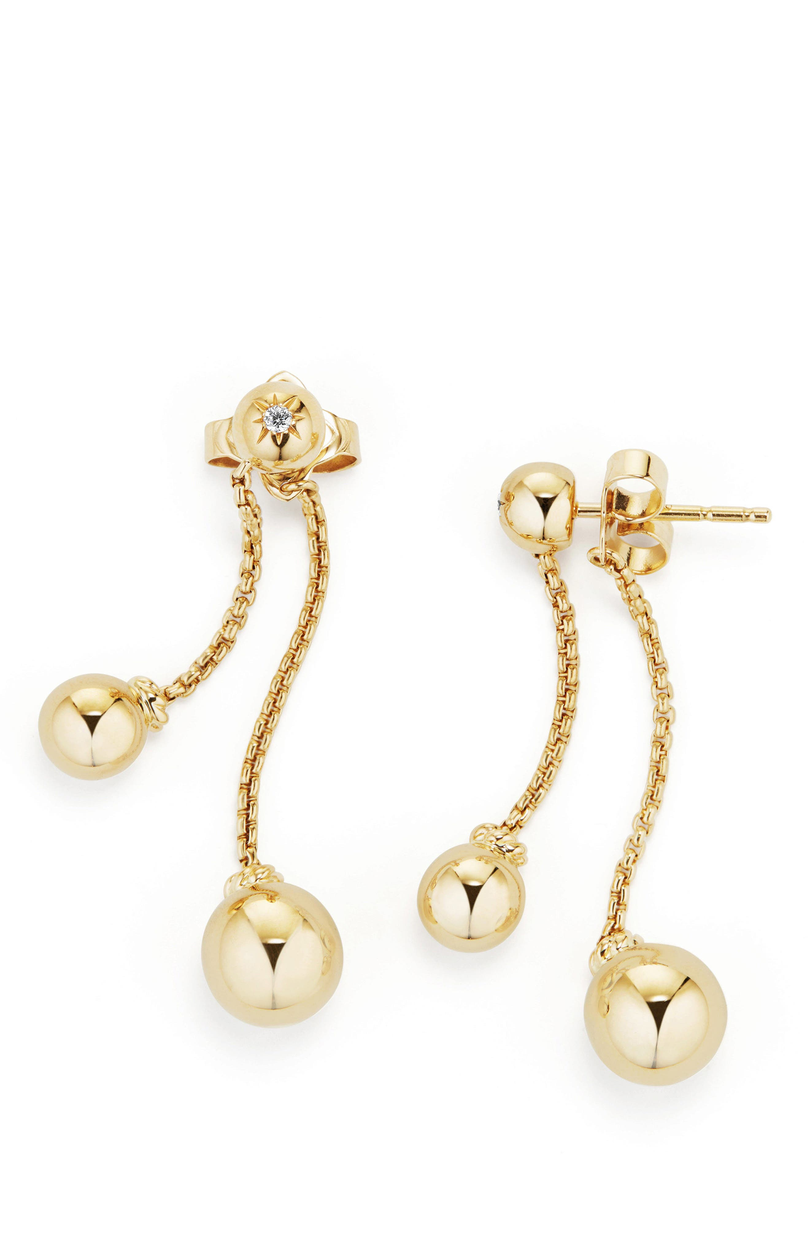 Solari Chain Drop Earrings with Diamonds in 18K Gold,                             Alternate thumbnail 2, color,                             710