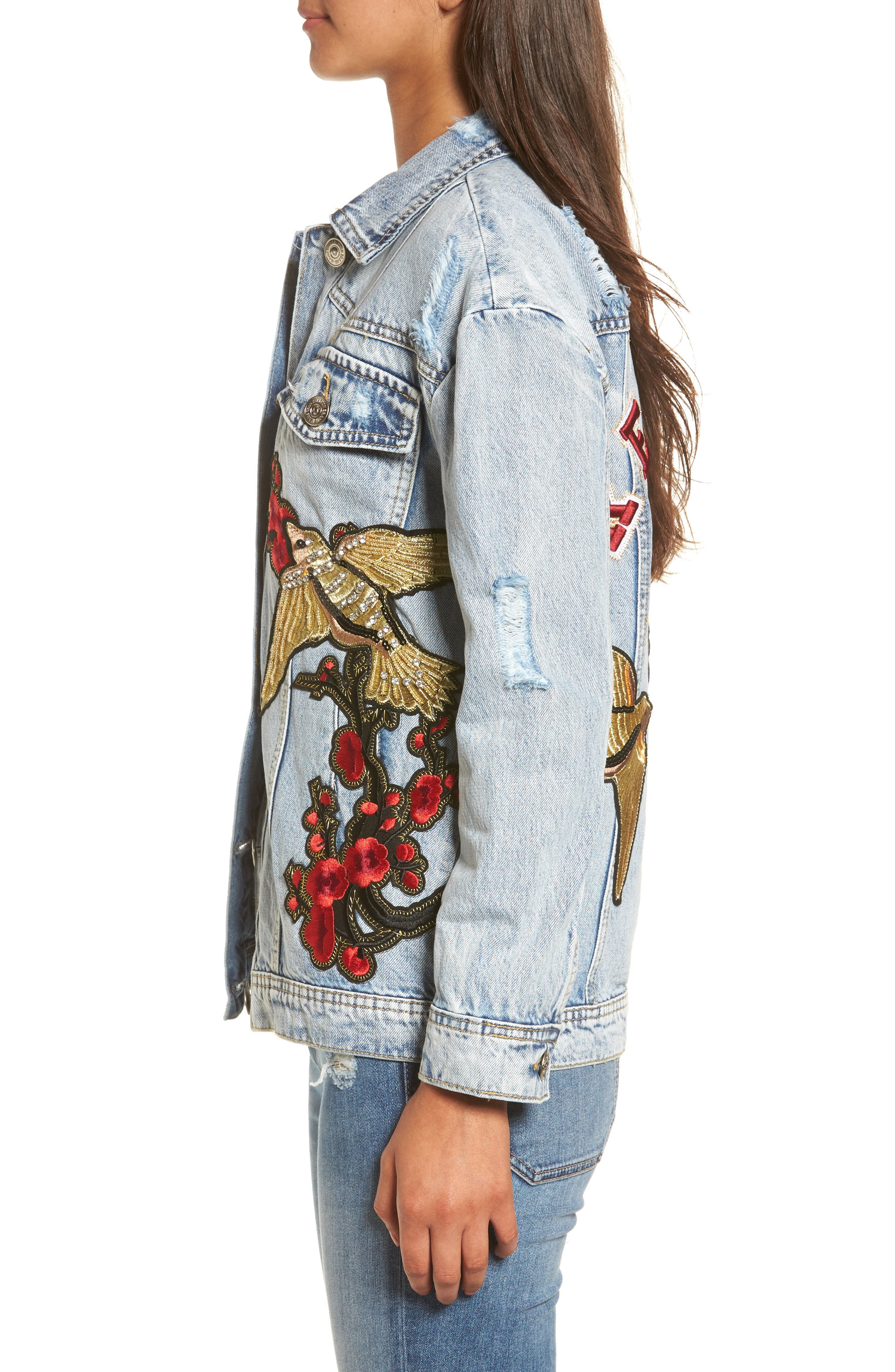 Denim Trucker Jacket,                             Alternate thumbnail 4, color,                             403