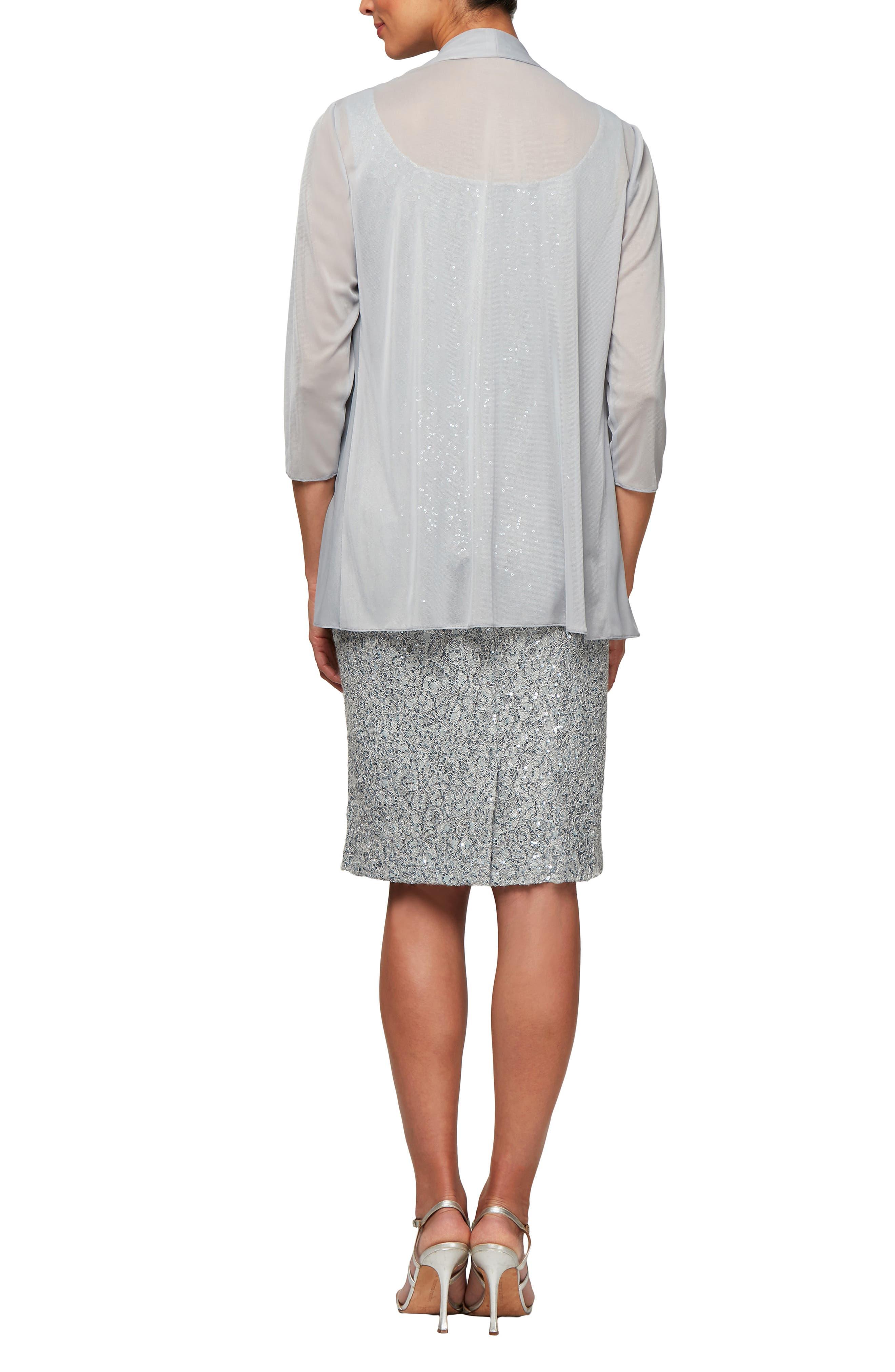 ALEX EVENINGS,                             Sequin Sheath Dress with Jacket,                             Alternate thumbnail 2, color,                             LIGHT BLUE