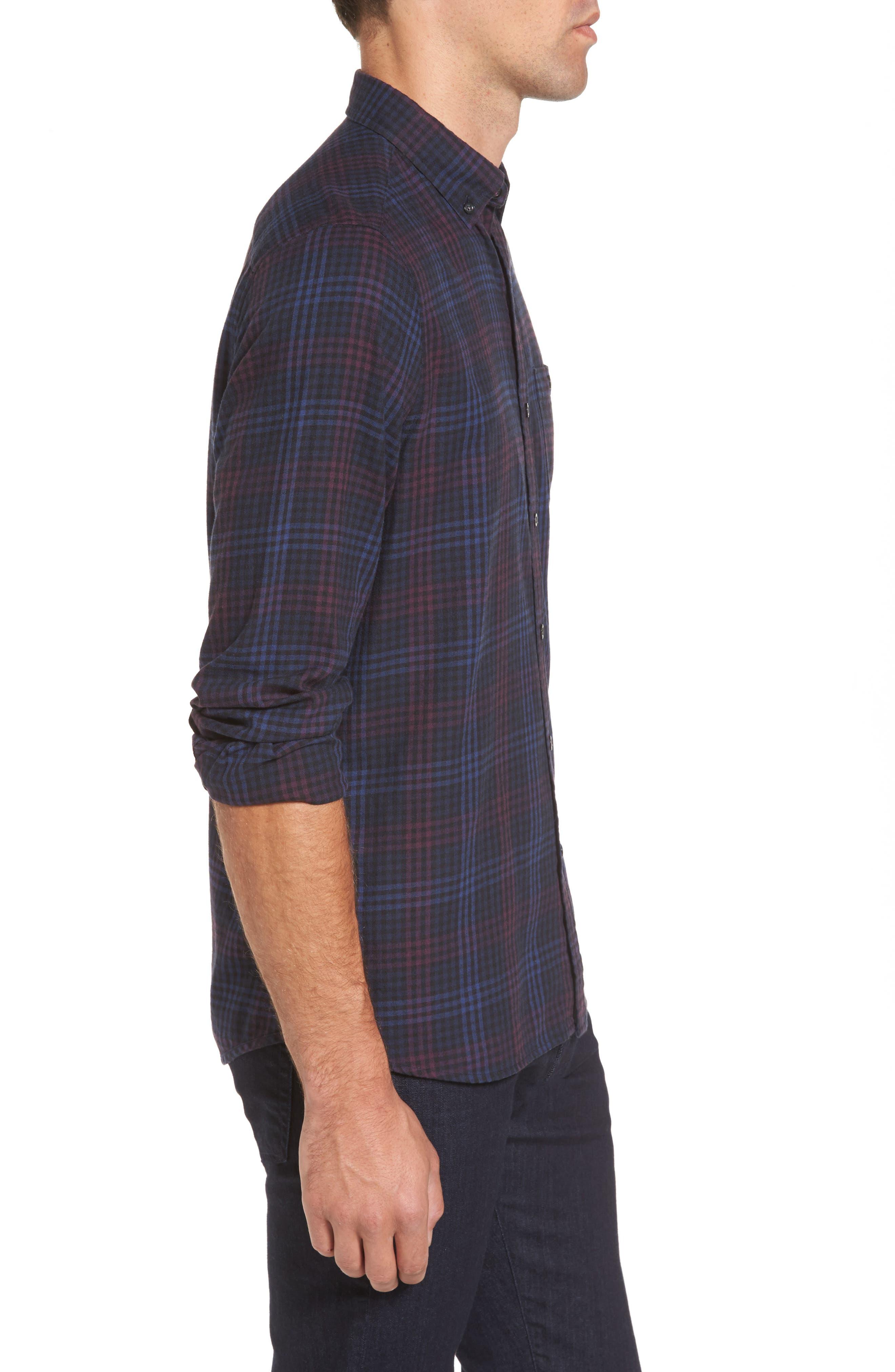Trim Fit Plaid Flannel Sport Shirt,                             Alternate thumbnail 3, color,                             410