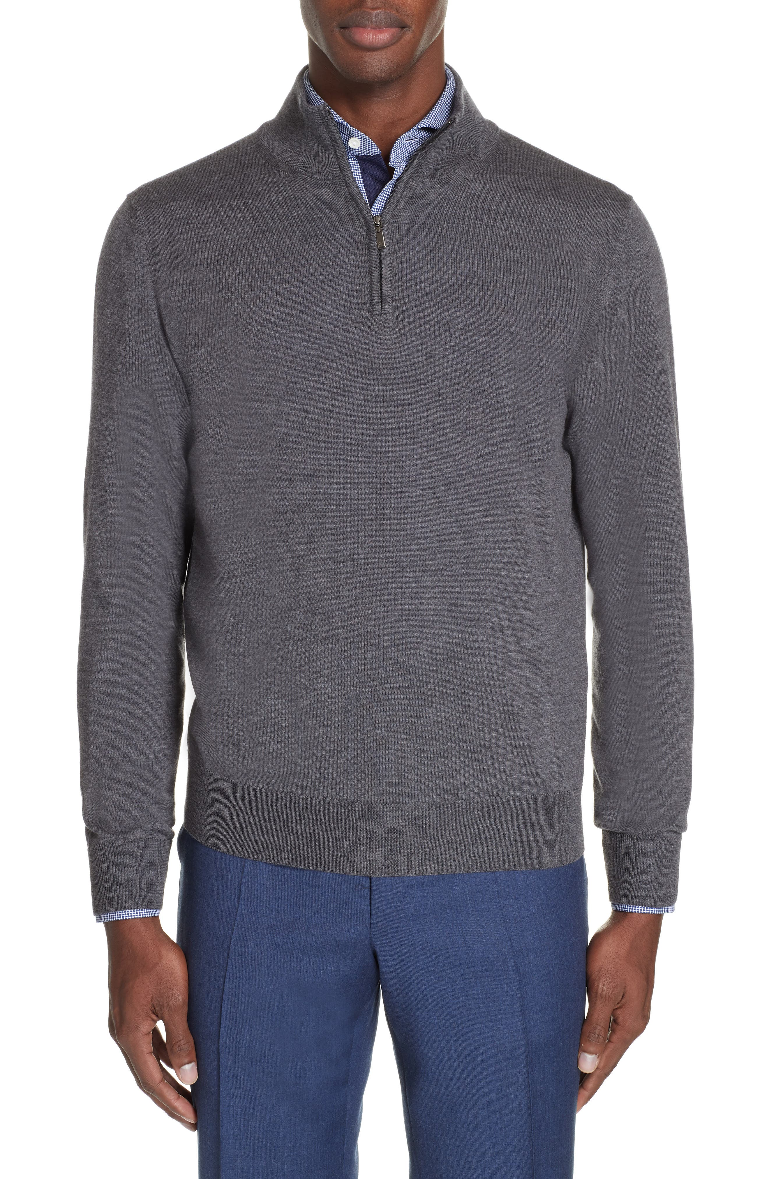 Wool Quarter Zip Pullover,                             Main thumbnail 1, color,                             CHARCOAL