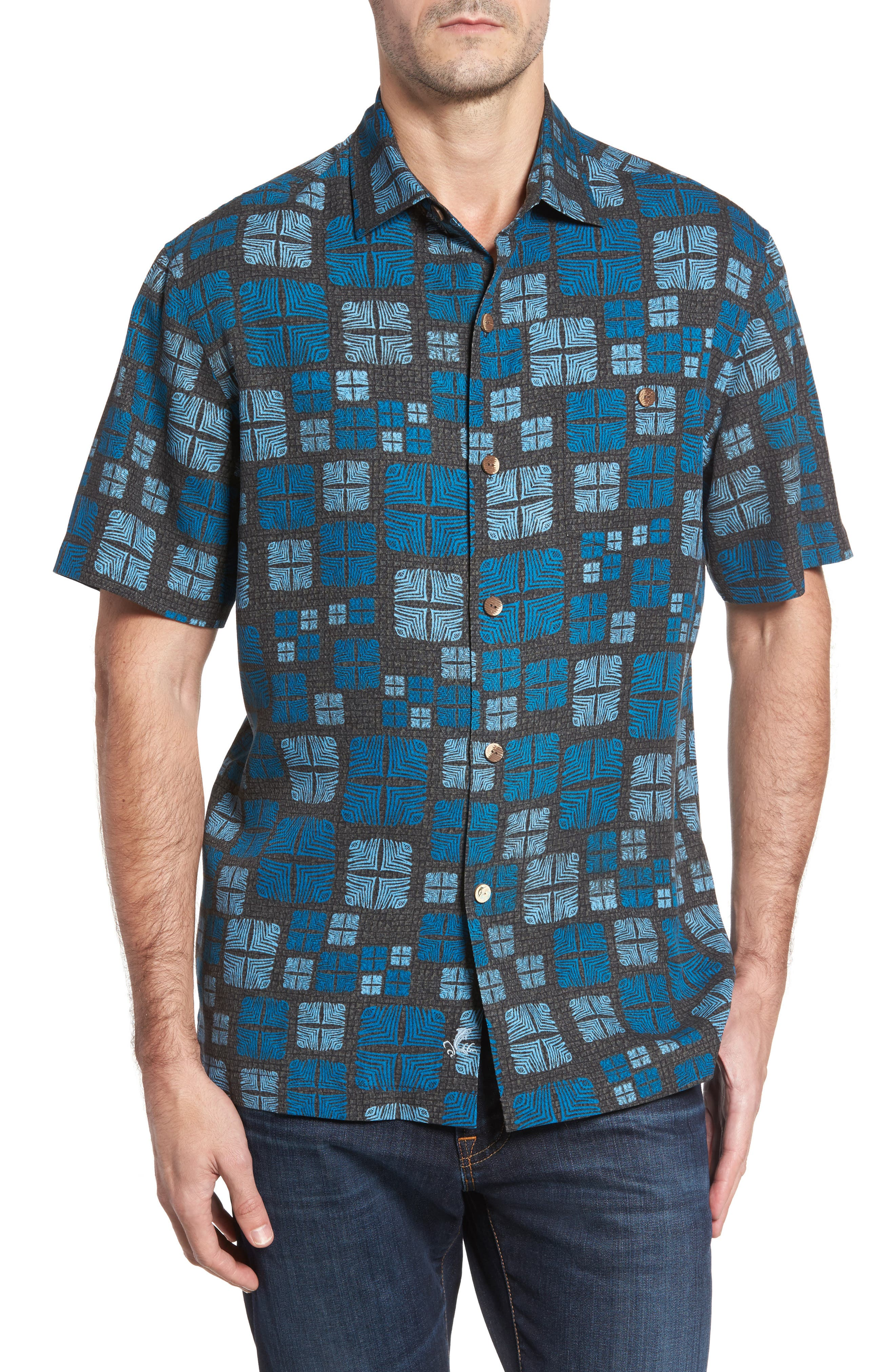 Isla Tiles Standard Fit Silk Camp Shirt,                         Main,                         color, 001