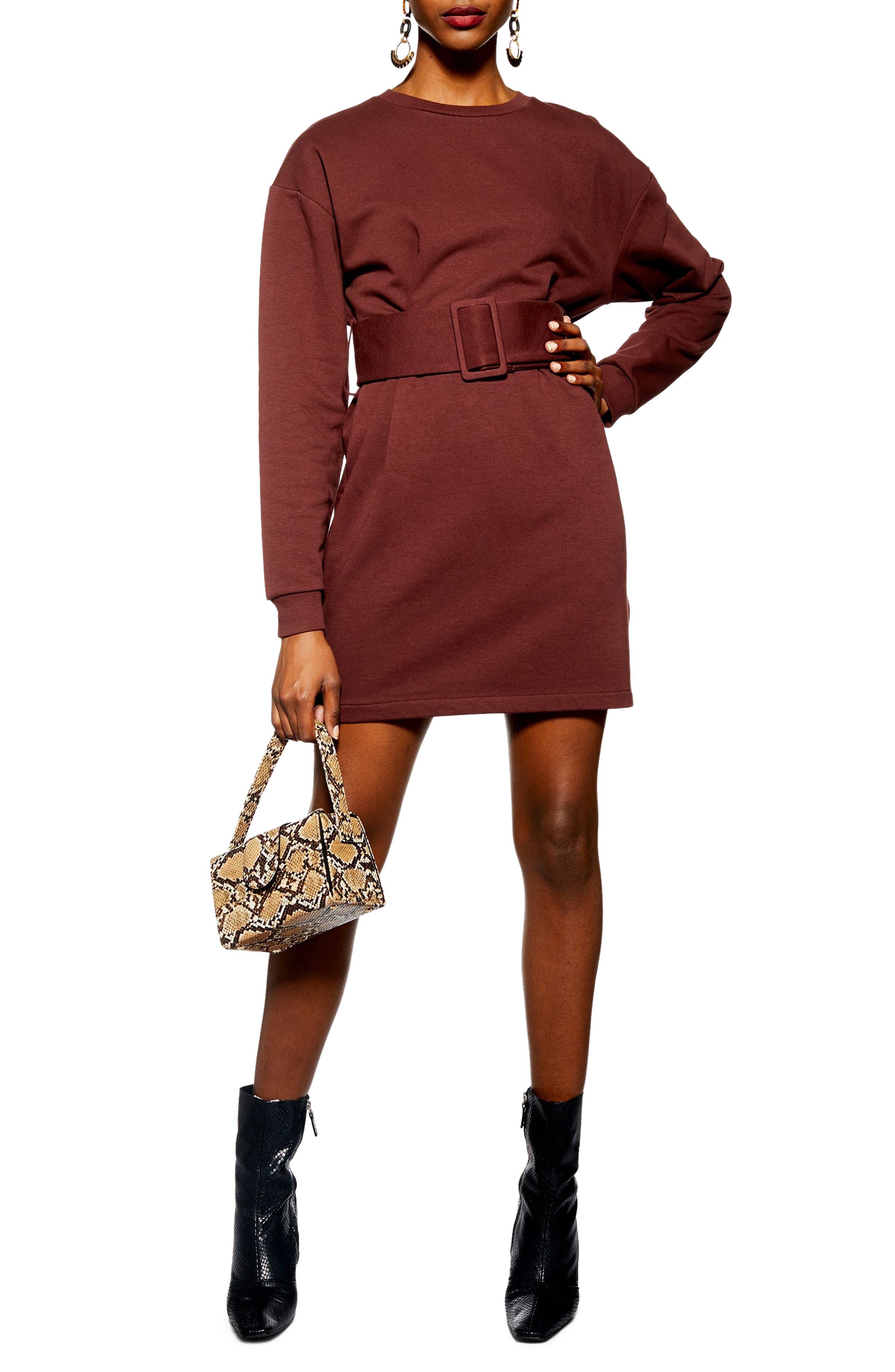 Belted Sweater Dress, Main, color, DARK BROWN