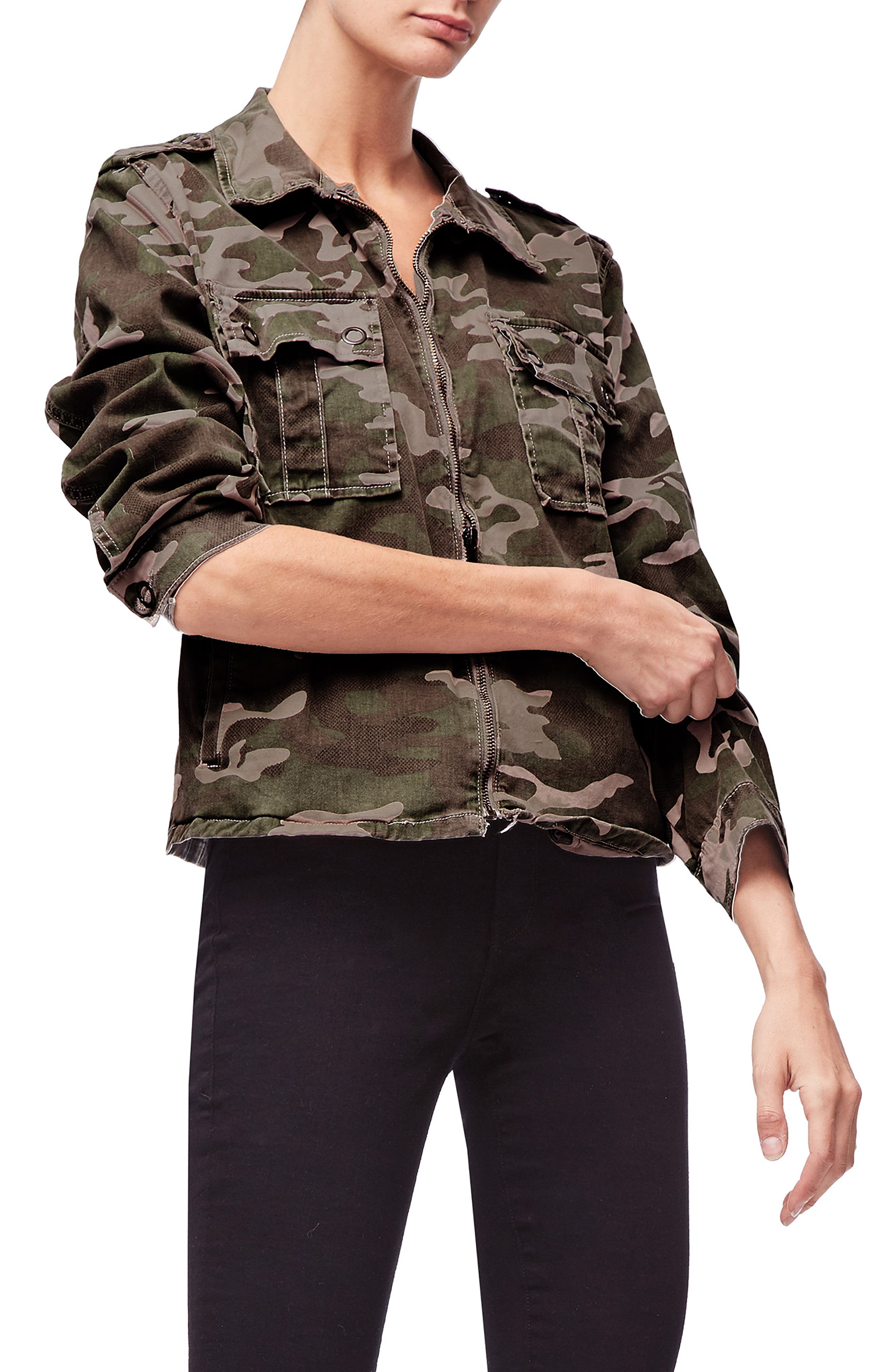 Camo Print Military Jacket,                             Main thumbnail 1, color,                             301