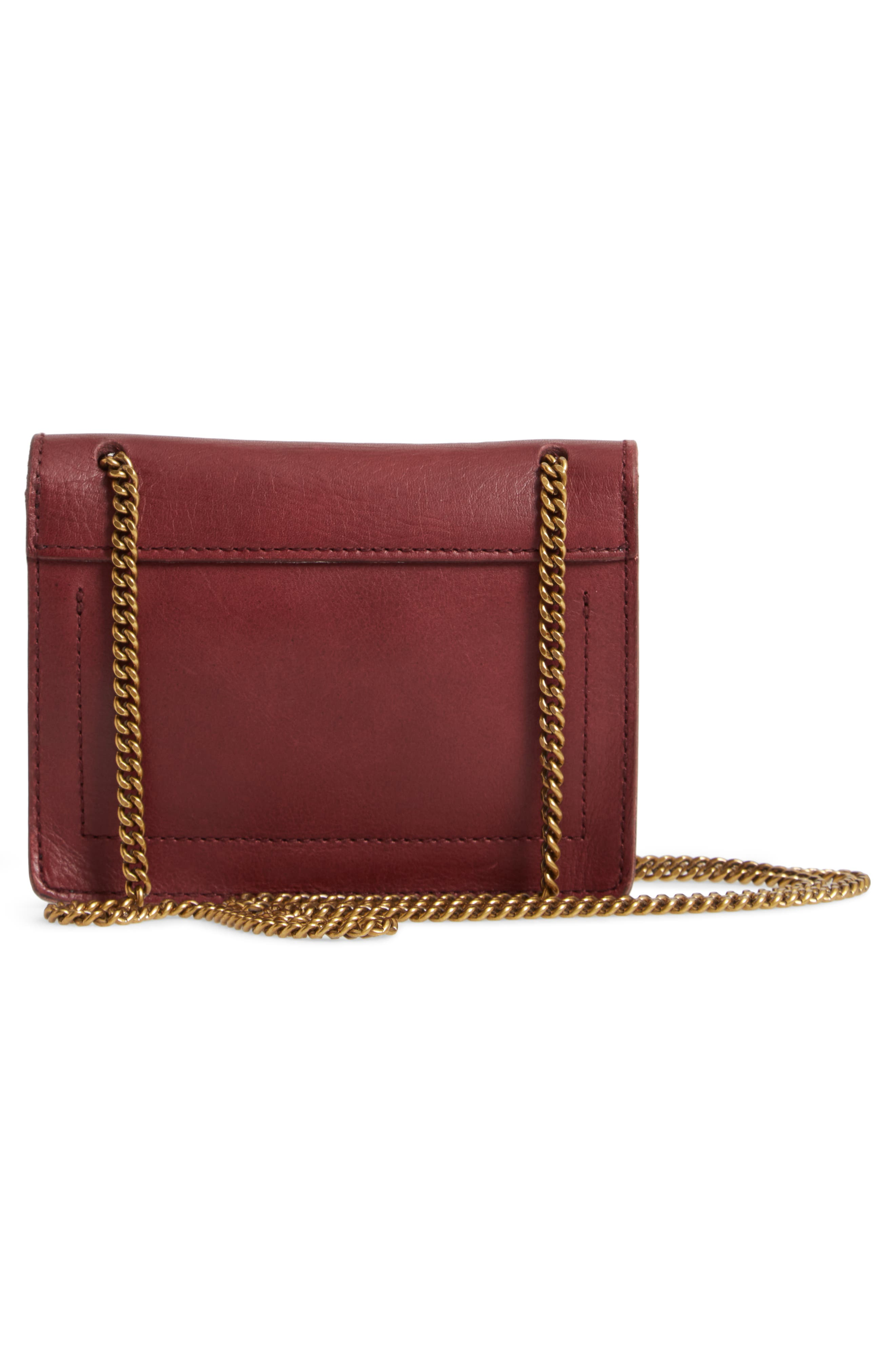MADEWELL,                             Leather Crossbody Wallet,                             Alternate thumbnail 3, color,                             DARK CABERNET