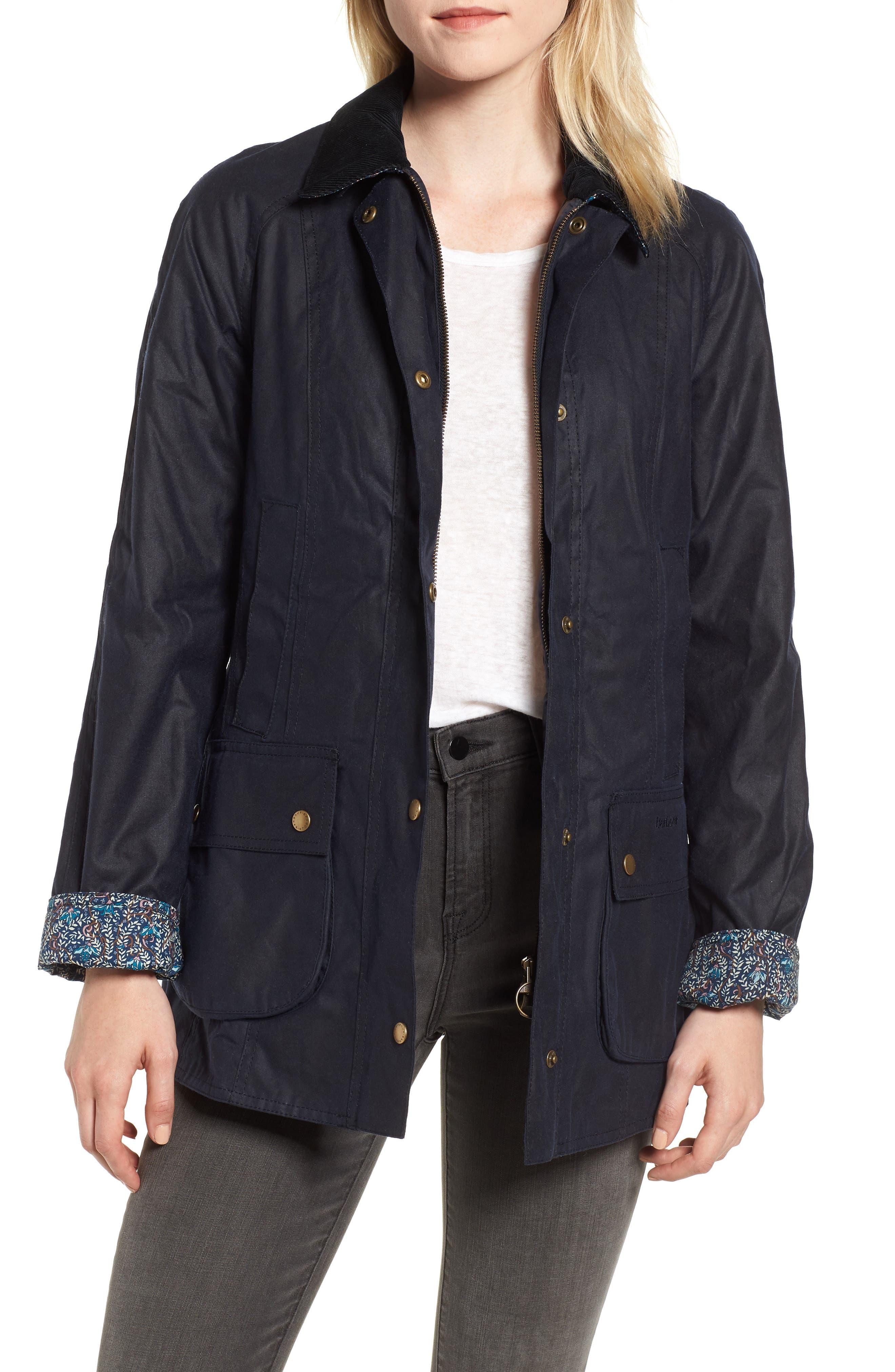Barbour X Liberty Abbey Waxed Cotton Jacket, US / 8 UK - Blue