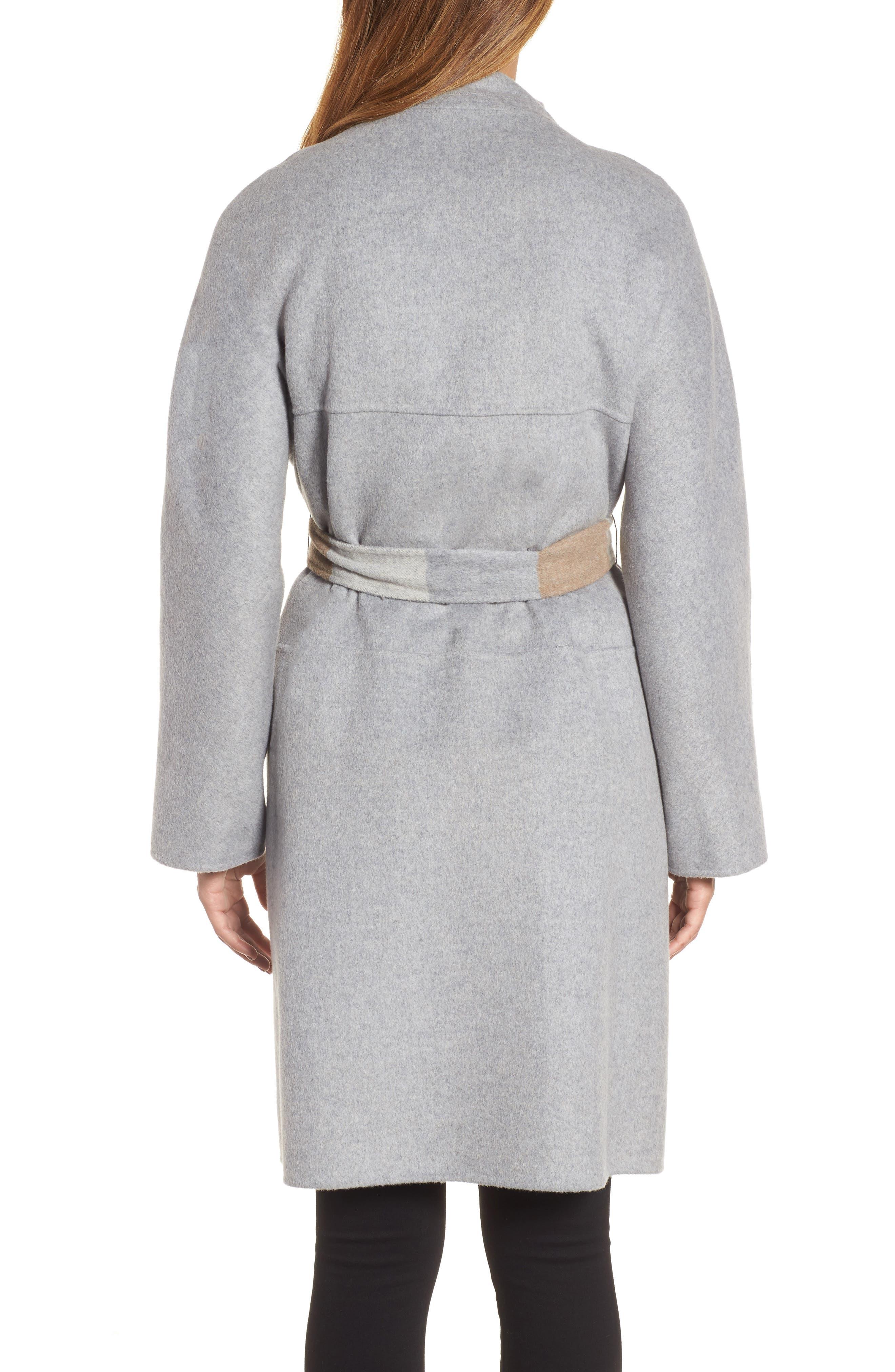 DKNY Wool Blend Wrap Coat,                             Alternate thumbnail 2, color,