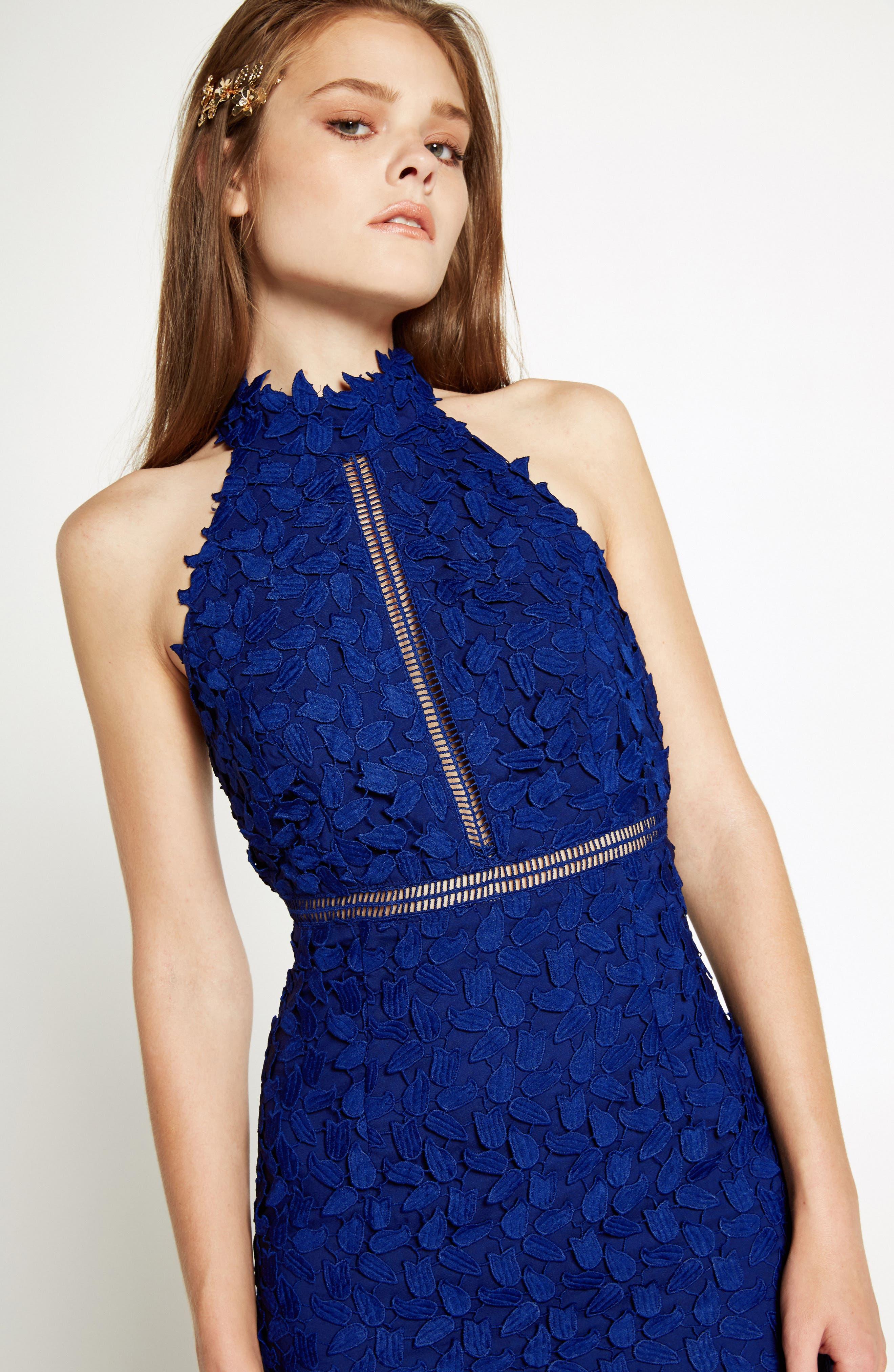 Gemma Halter Lace Sheath Dress,                             Alternate thumbnail 6, color,                             COBALT