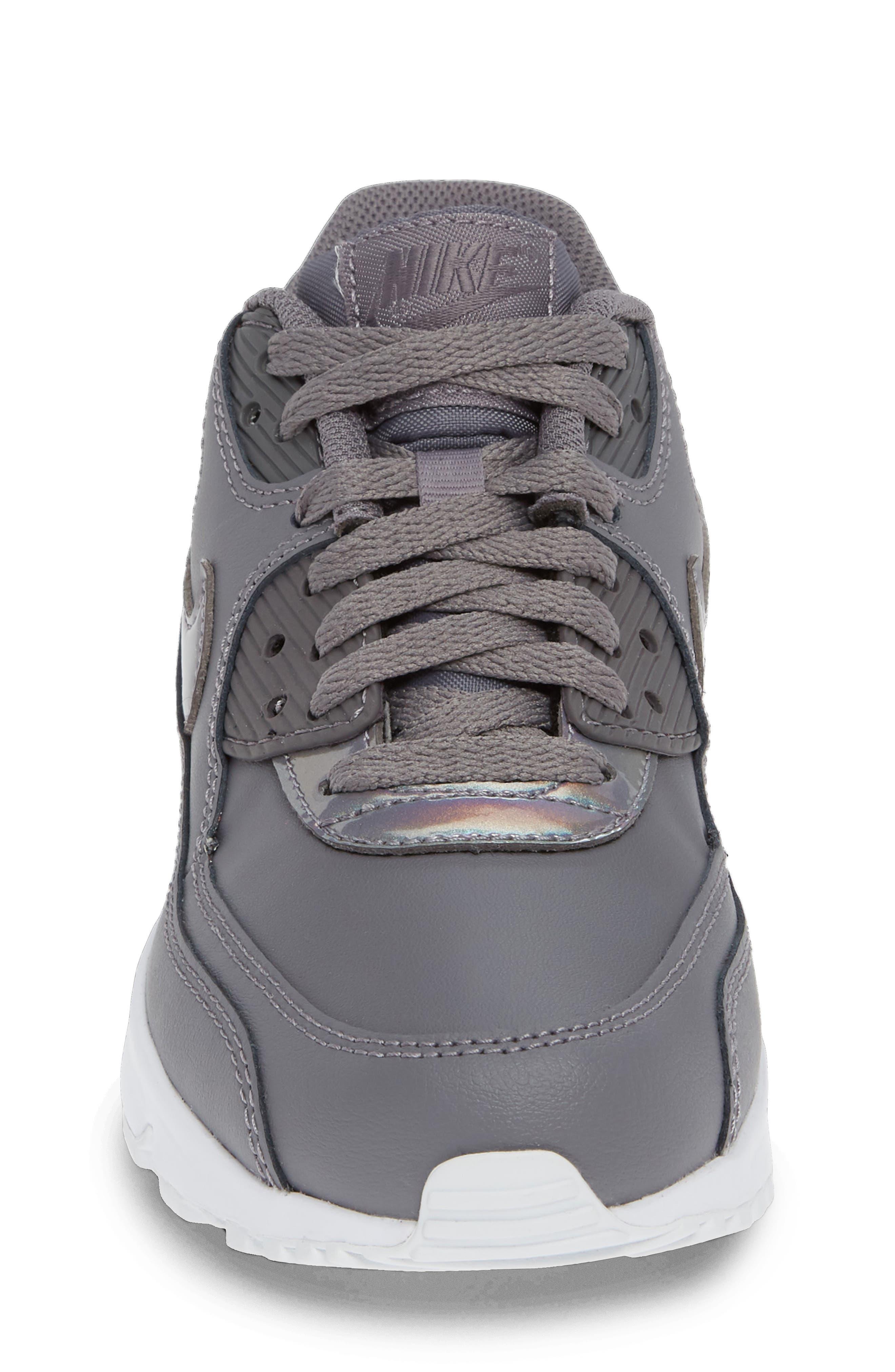 'Air Max 90' Sneaker,                             Alternate thumbnail 4, color,                             GUNSMOKE/ WHITE