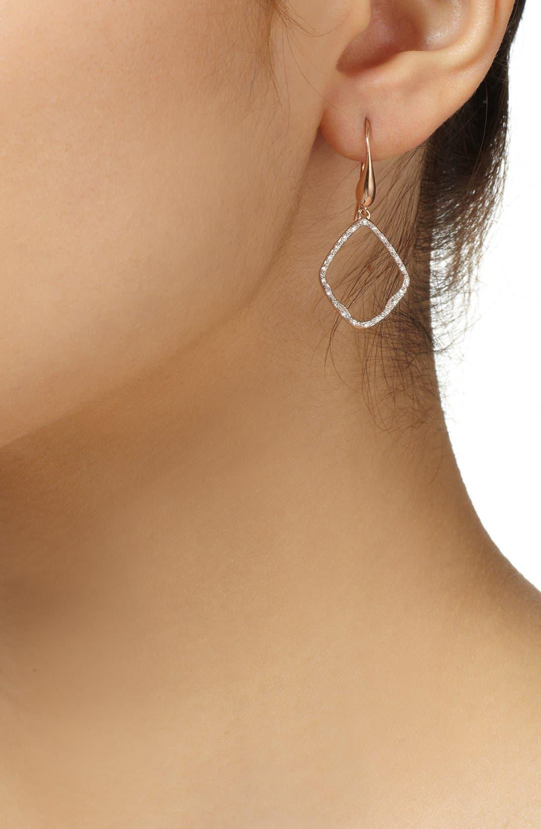 Riva Diamond Hoop Drop Earrings,                             Alternate thumbnail 4, color,                             ROSE GOLD
