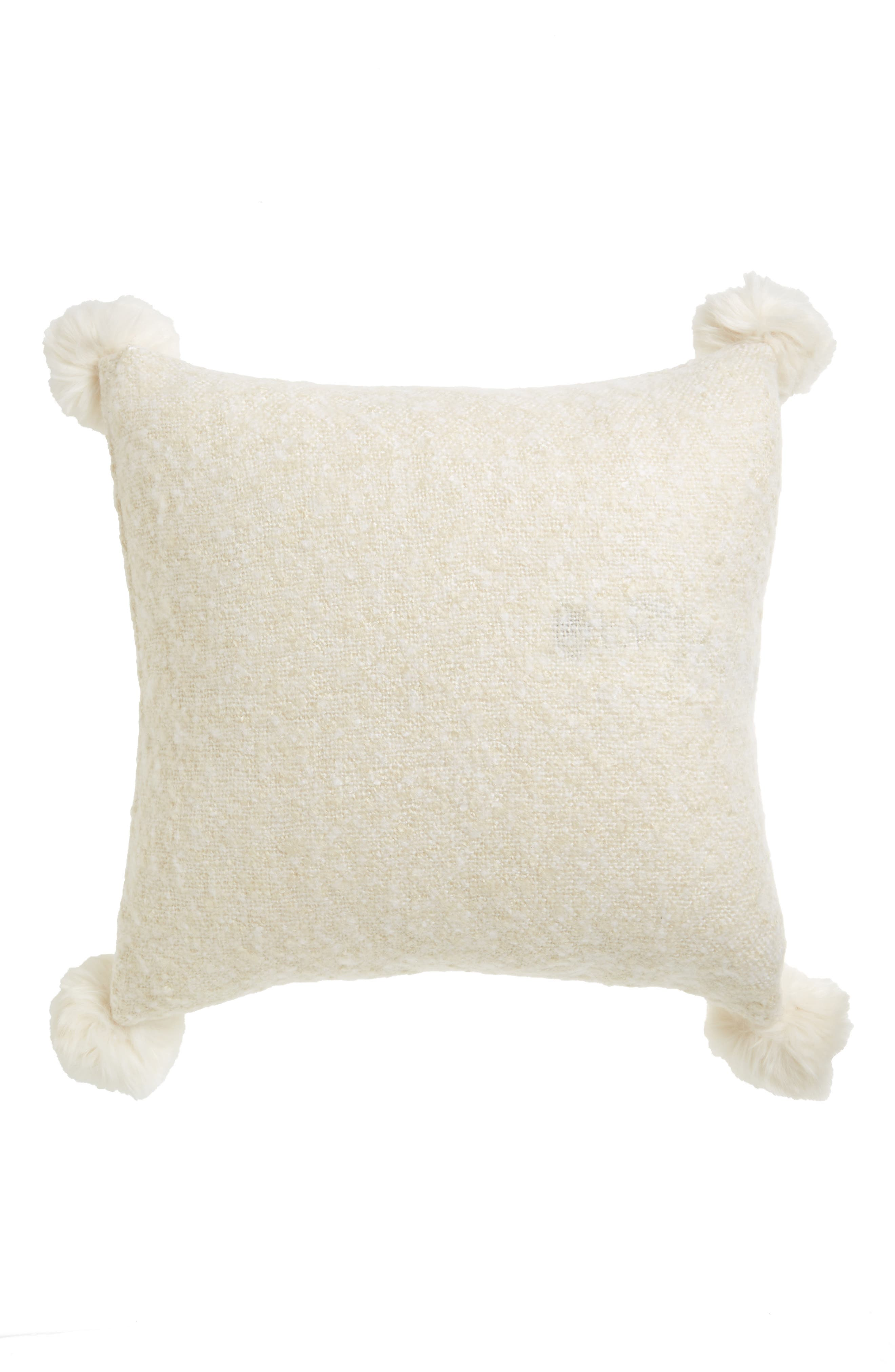 Brushed Accent Pillow with Pompoms,                             Alternate thumbnail 2, color,                             900