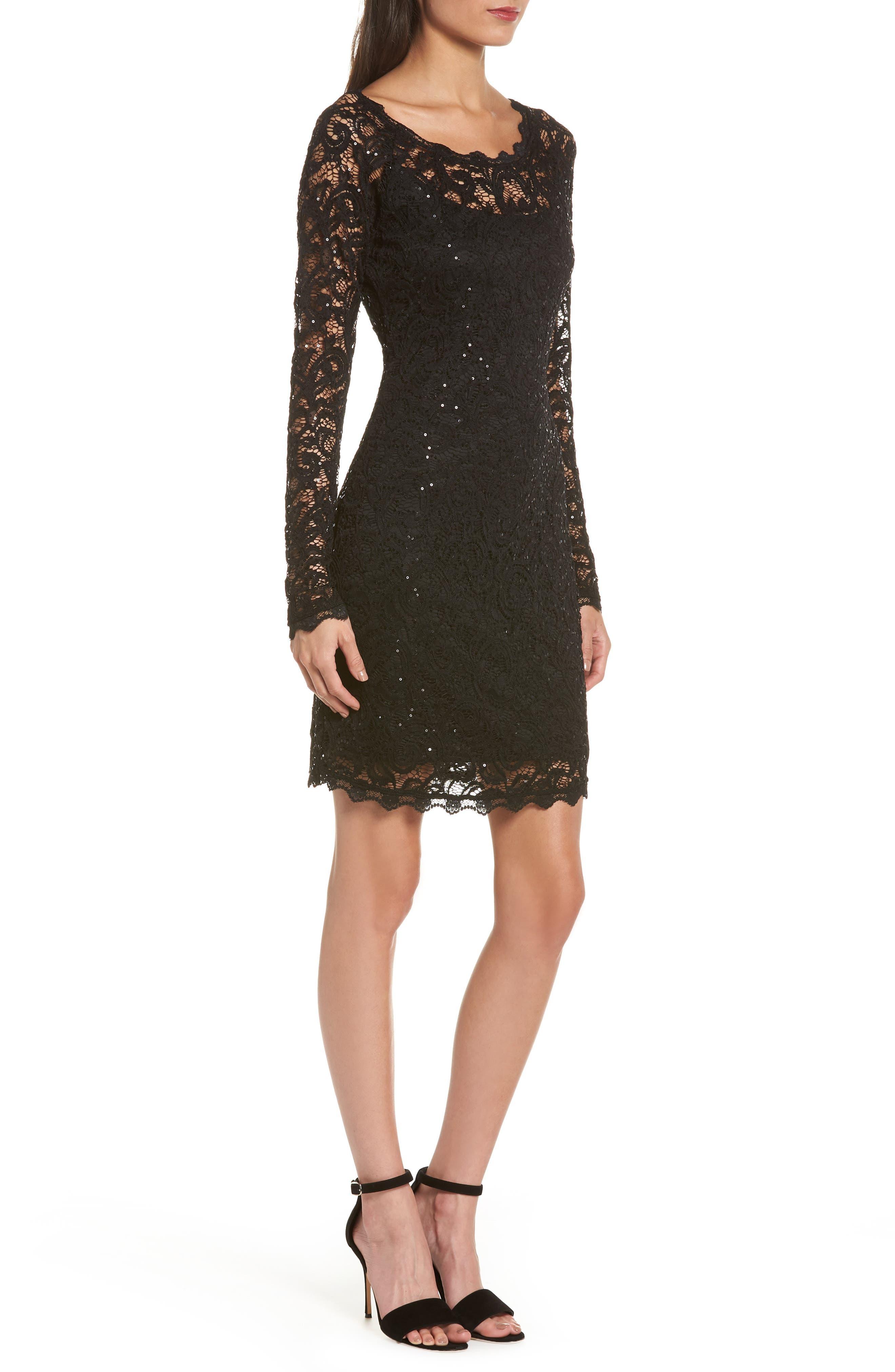 Sequin Lace Sheath Dress,                             Alternate thumbnail 3, color,                             BLACK