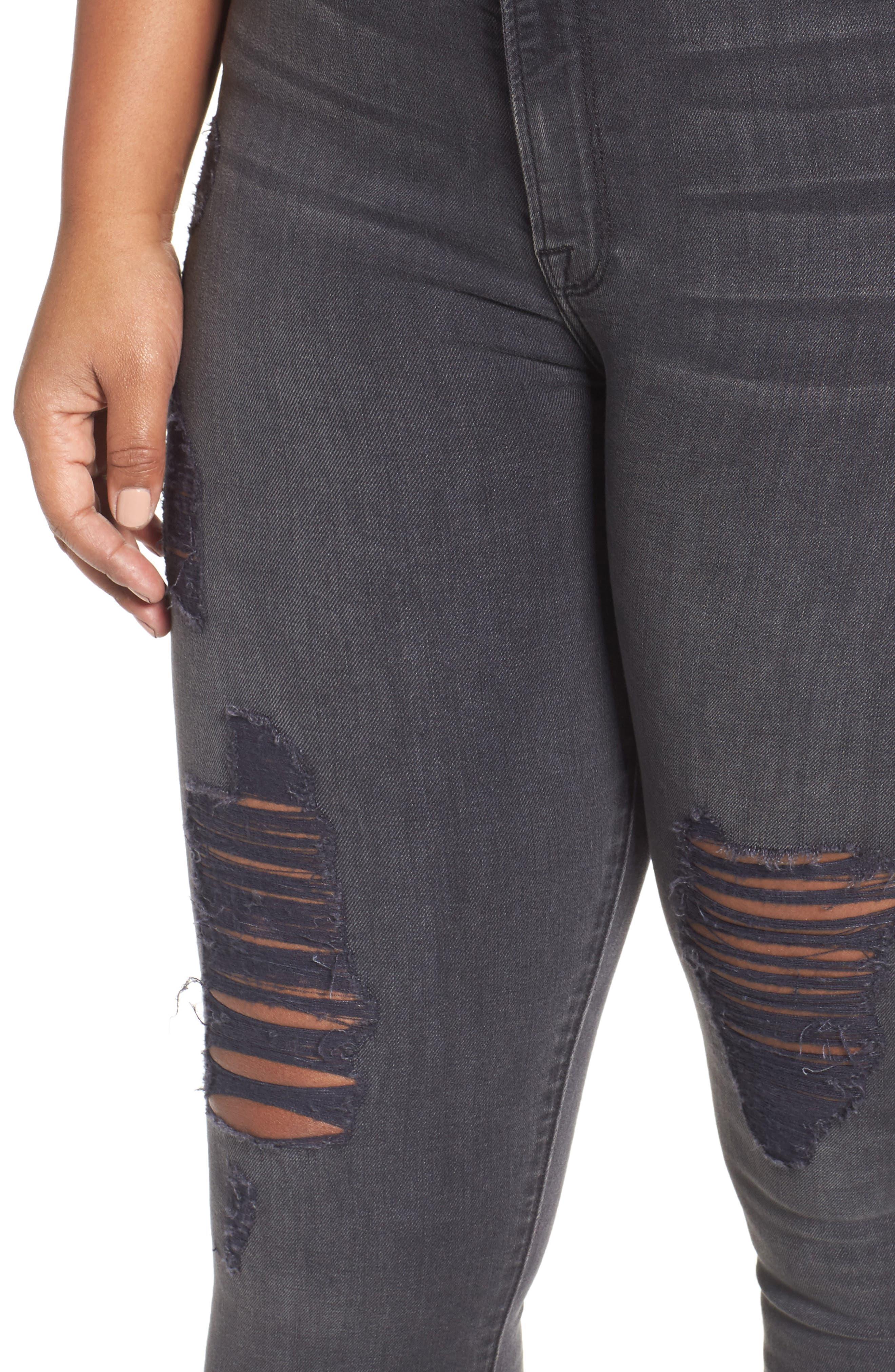 Good Waist High Waist Ripped Skinny Jeans,                             Alternate thumbnail 4, color,                             001