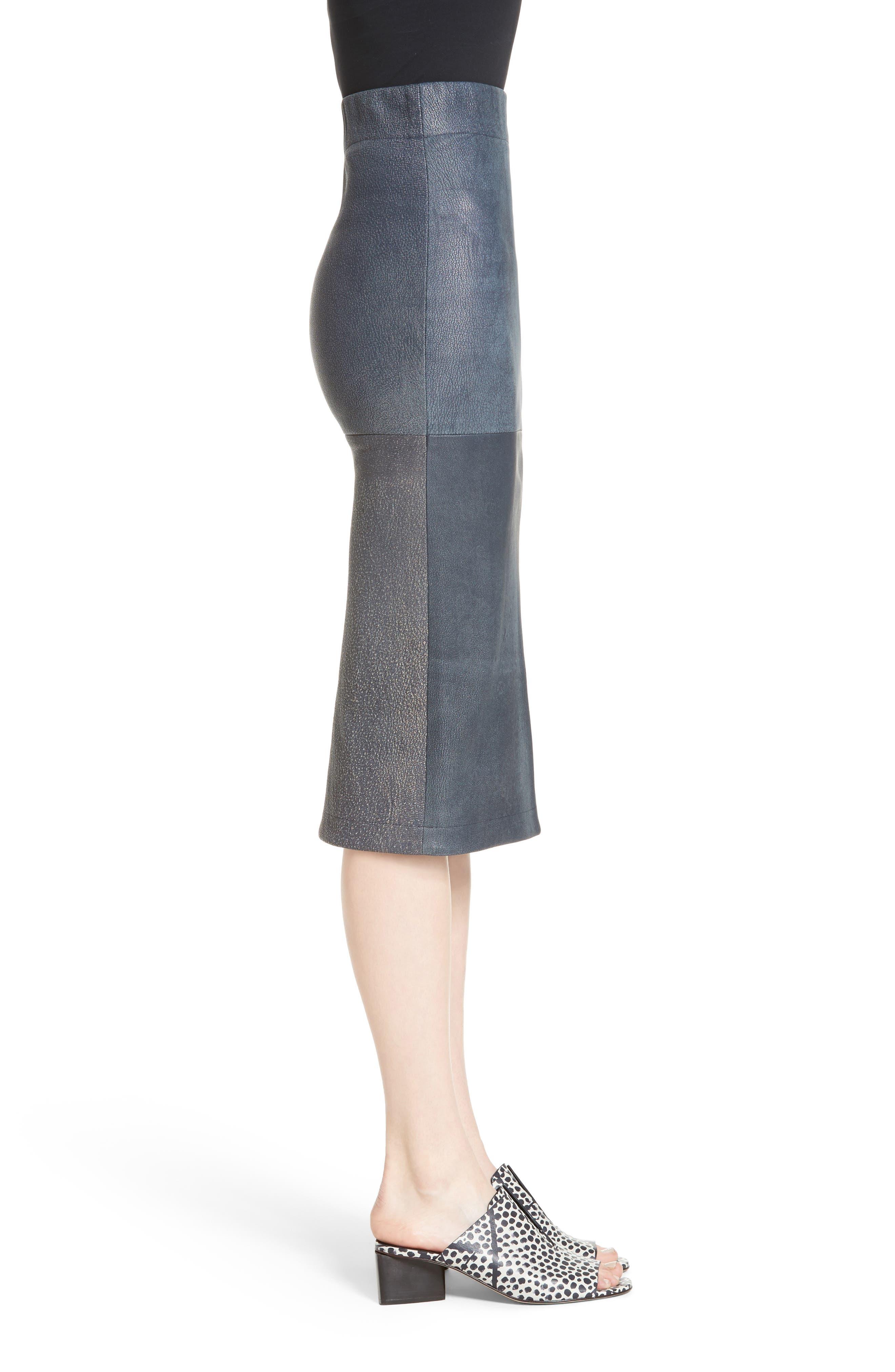 Rai Leather Curved Skirt,                             Alternate thumbnail 3, color,                             400