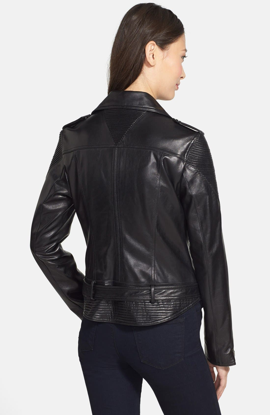 NICOLE MILLER,                             Trapunto Stitch Lambskin Leather Moto Jacket,                             Alternate thumbnail 2, color,                             001