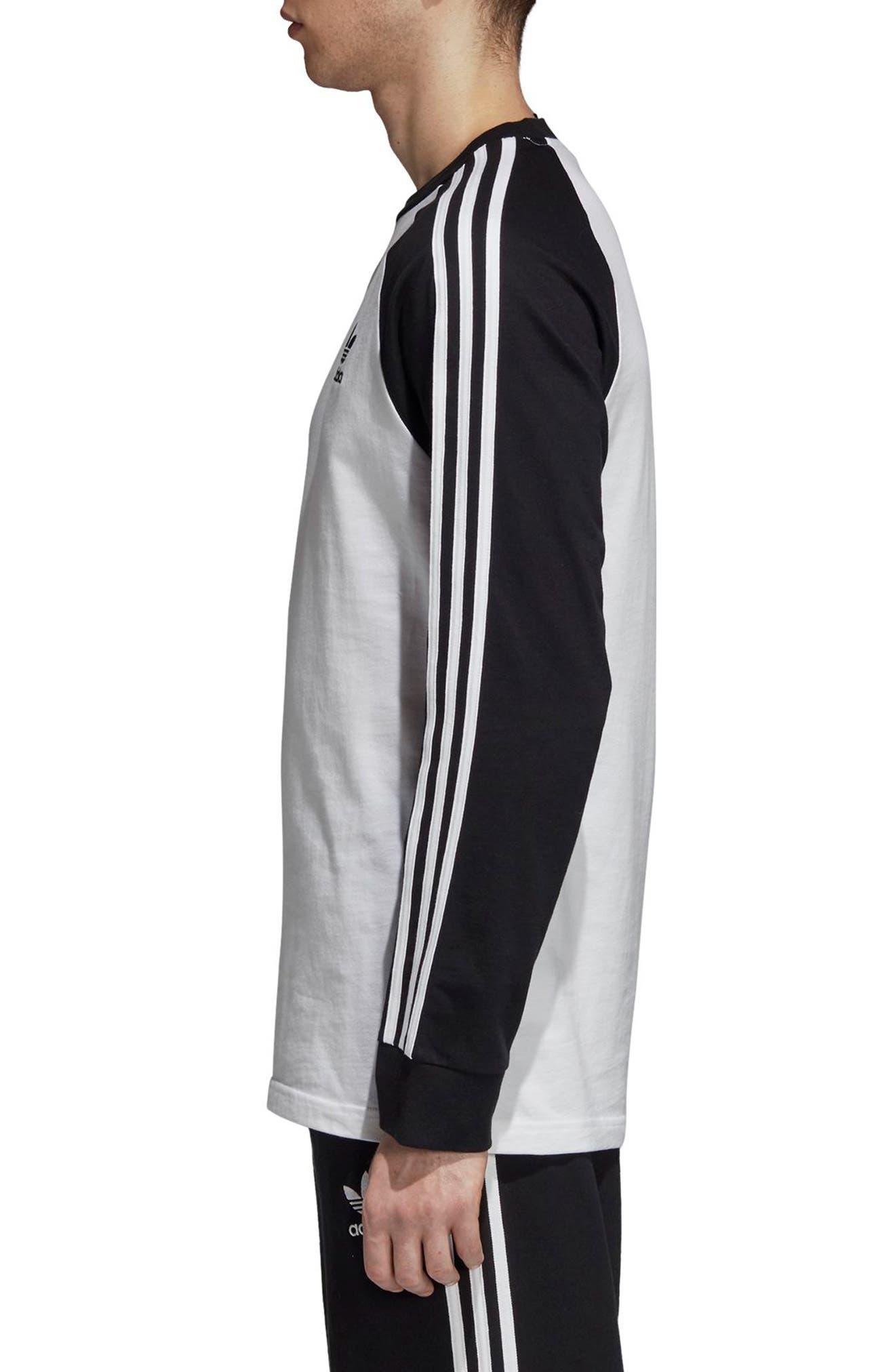 3-Stripes Long Sleeve T-Shirt,                             Alternate thumbnail 3, color,                             WHITE/ BLACK
