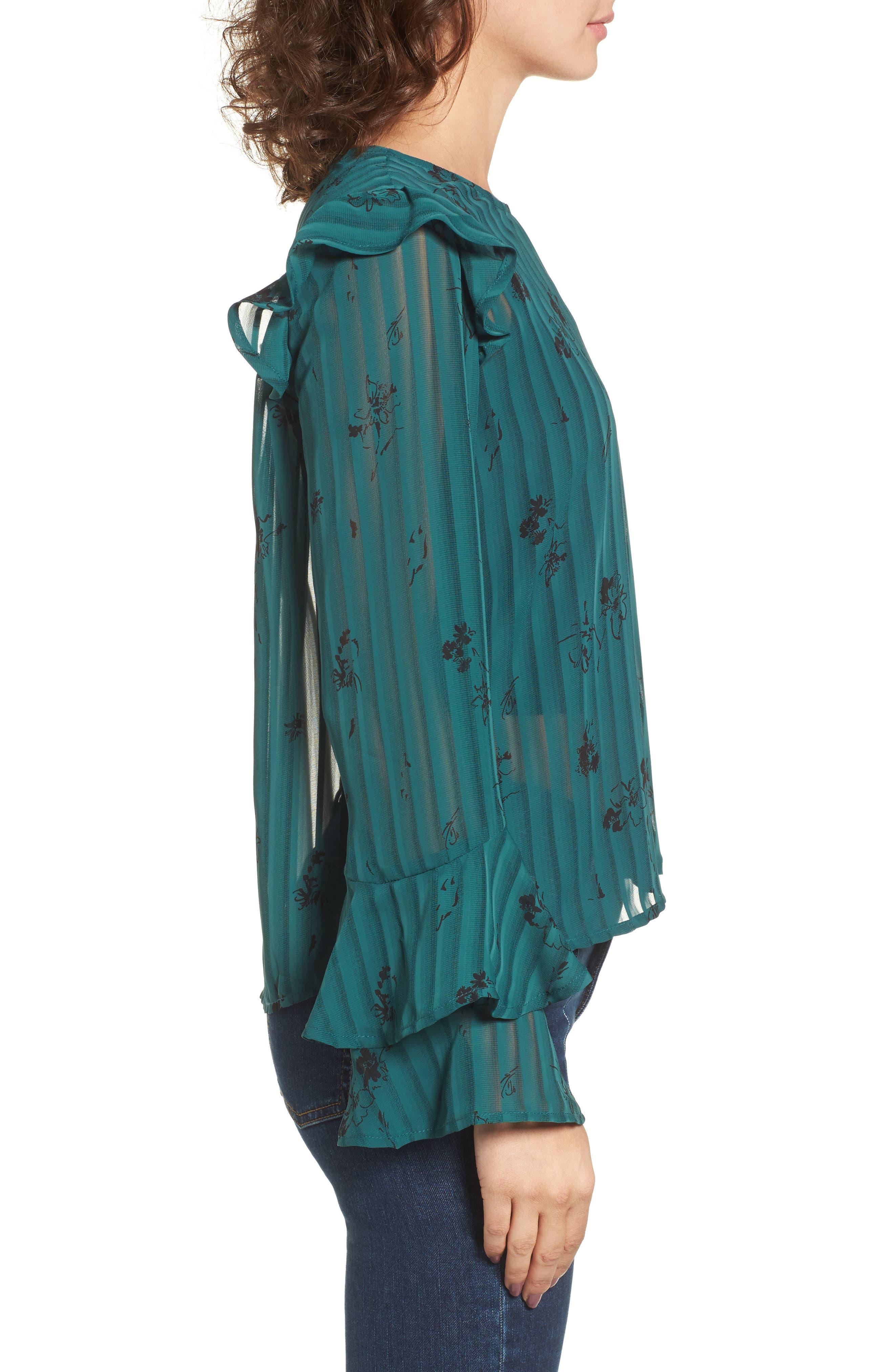 Ruffled Sheer Stripe Blouse,                             Alternate thumbnail 6, color,