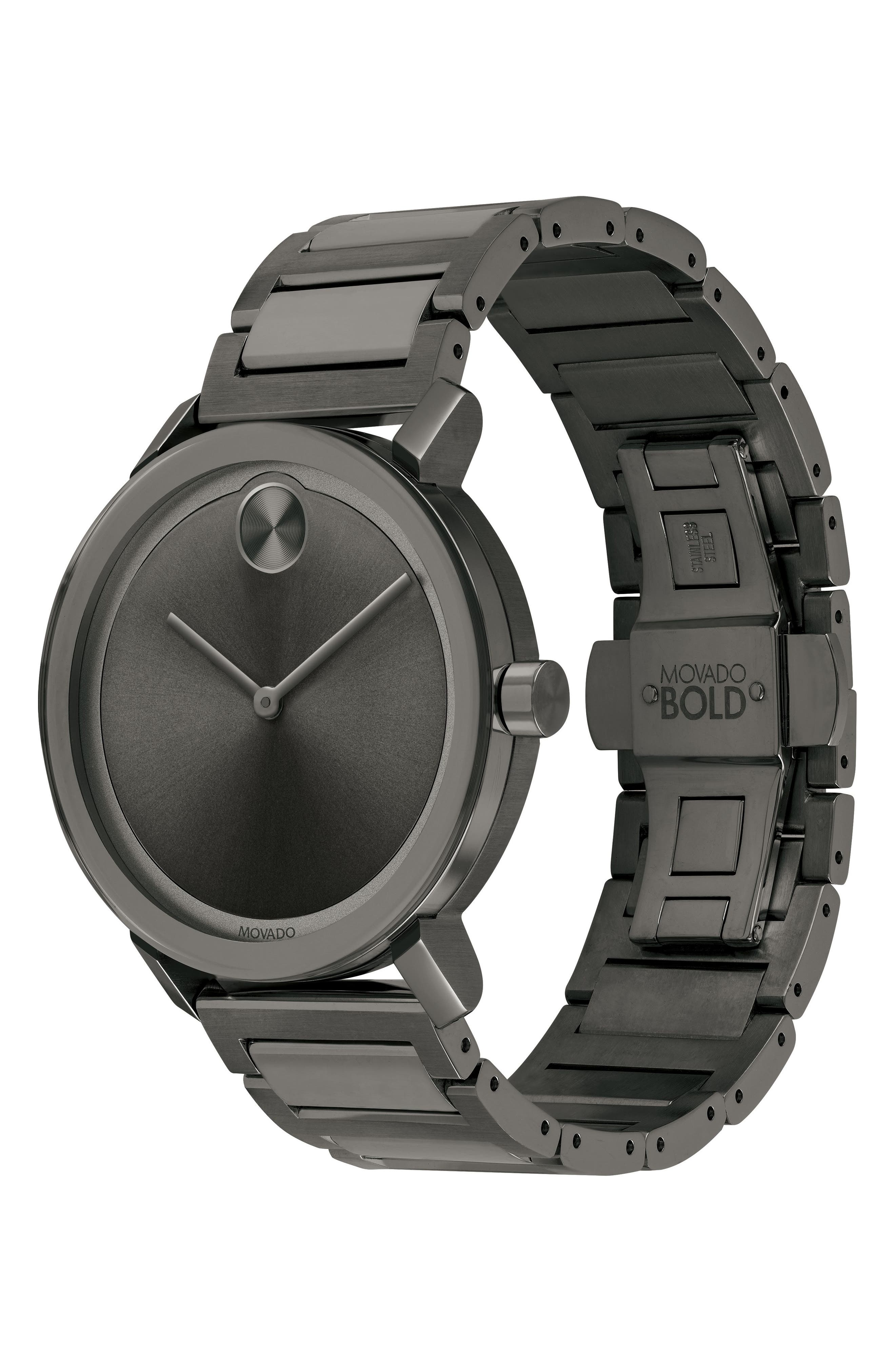 Bold Bracelet Watch, 40mm,                             Alternate thumbnail 3, color,                             GUNMETAL