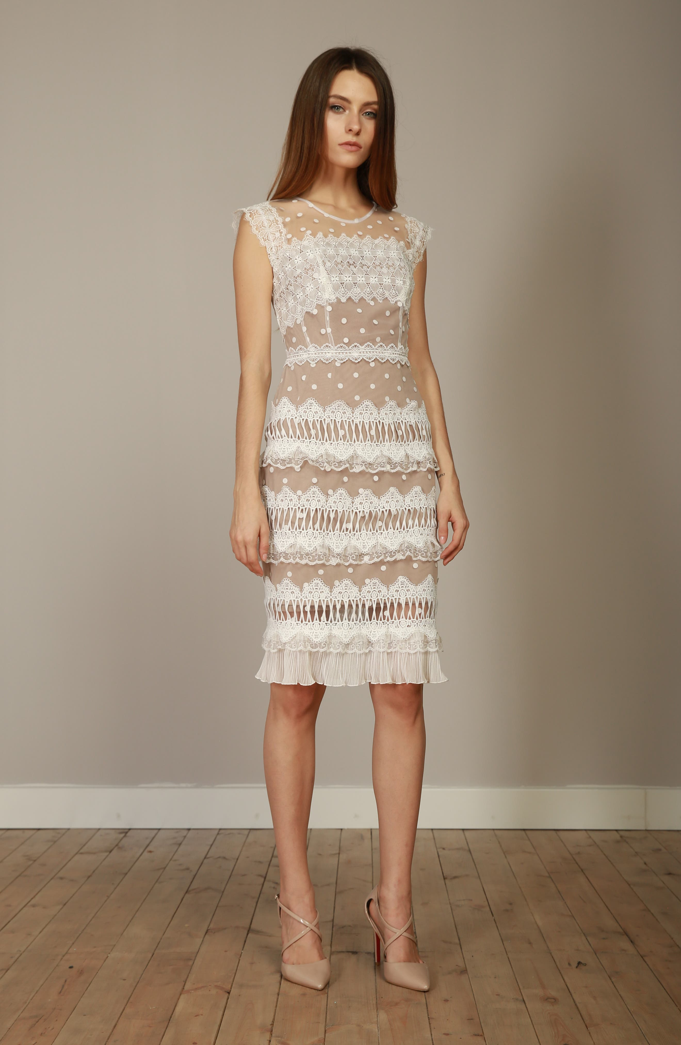 Majiorca Dot Lace Cocktail Dress,                             Alternate thumbnail 7, color,                             WHITE