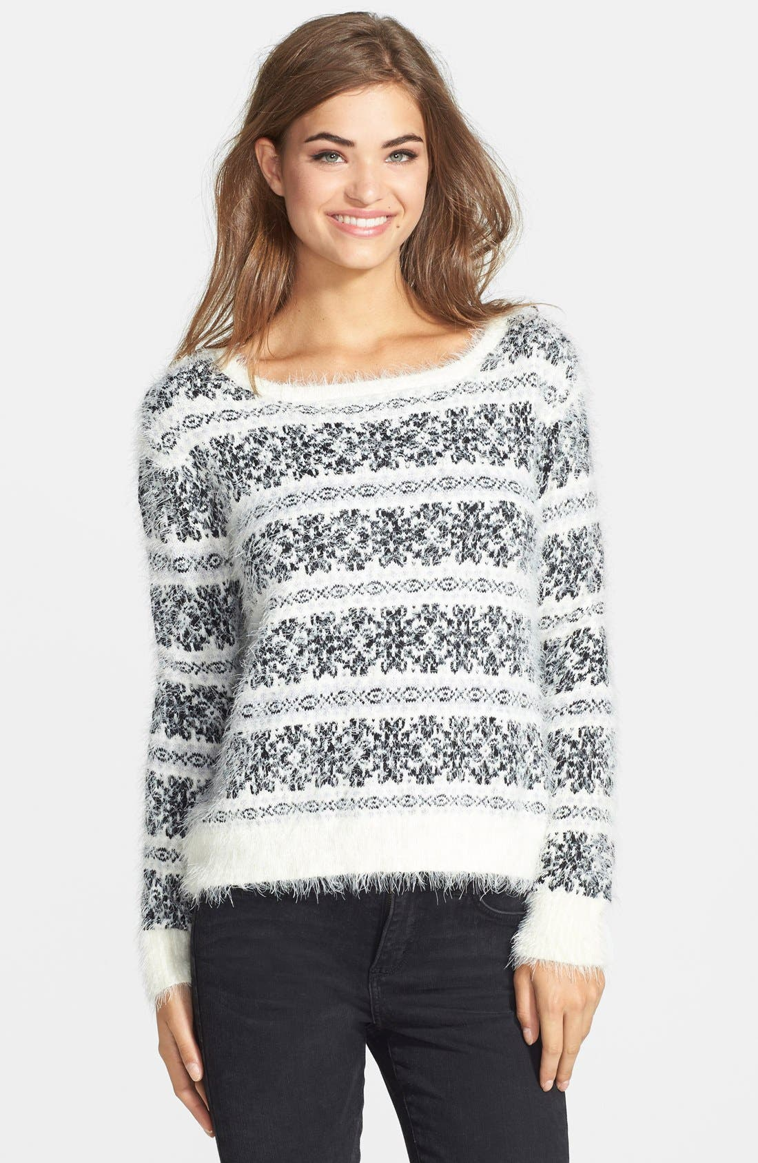 'Feather' Snowflake Print Sweater,                         Main,                         color, 100
