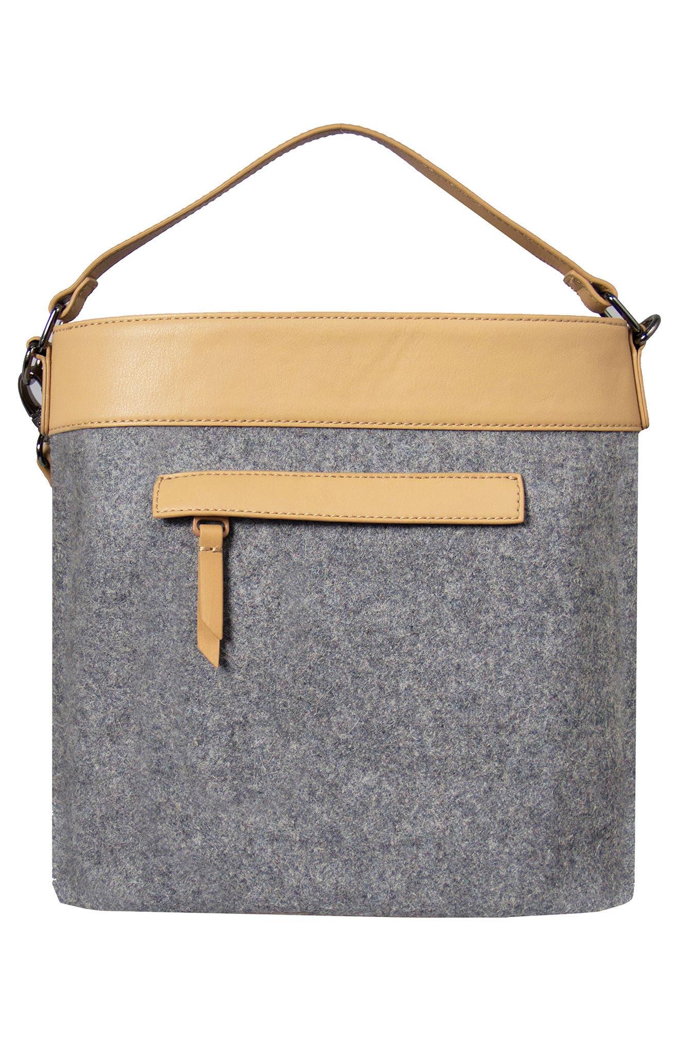 Boheme Wool & Leather Convertible Crossbody Bag,                             Alternate thumbnail 4, color,