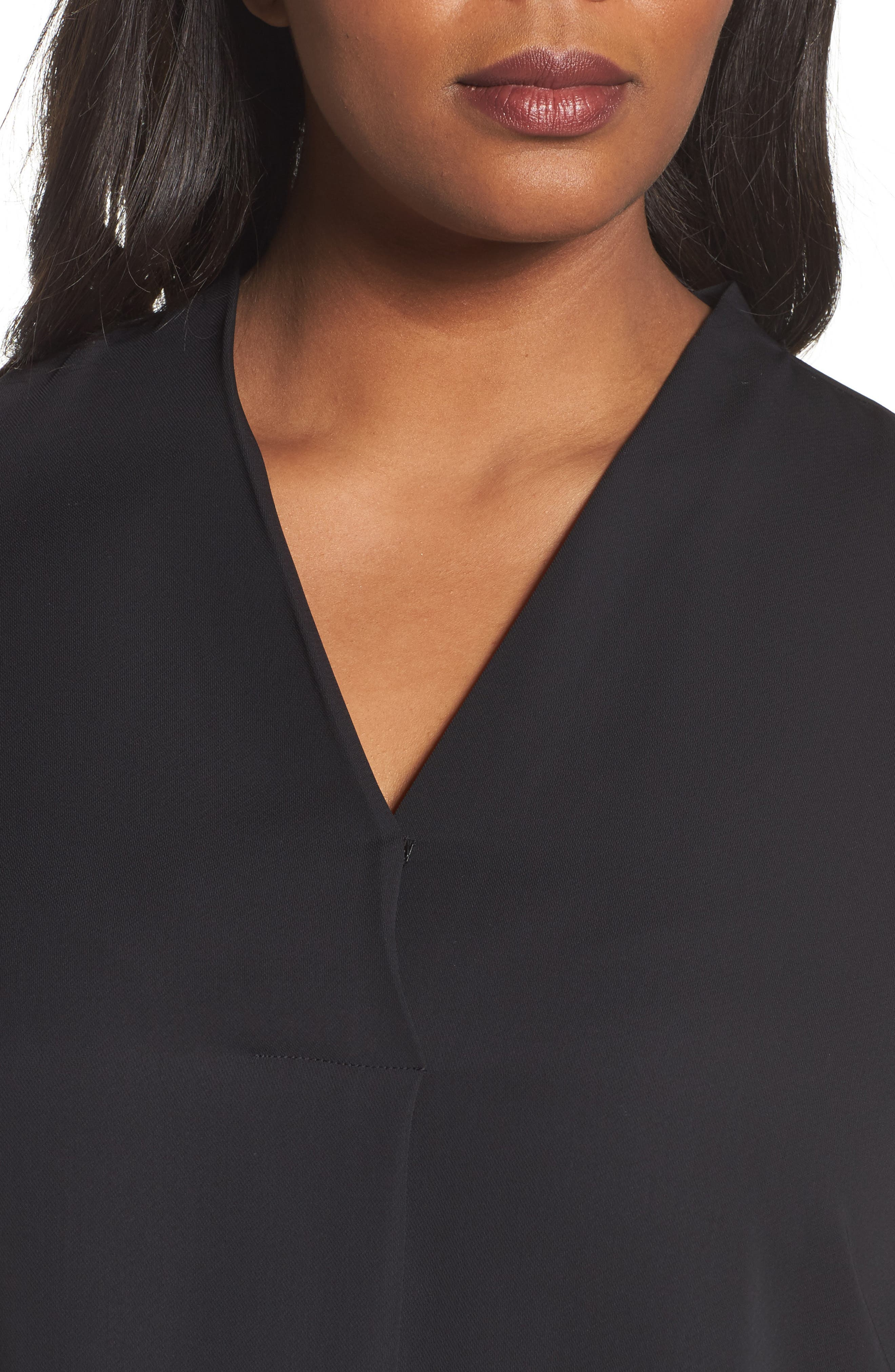 Majestic Matte Satin Blouse,                             Alternate thumbnail 4, color,                             004