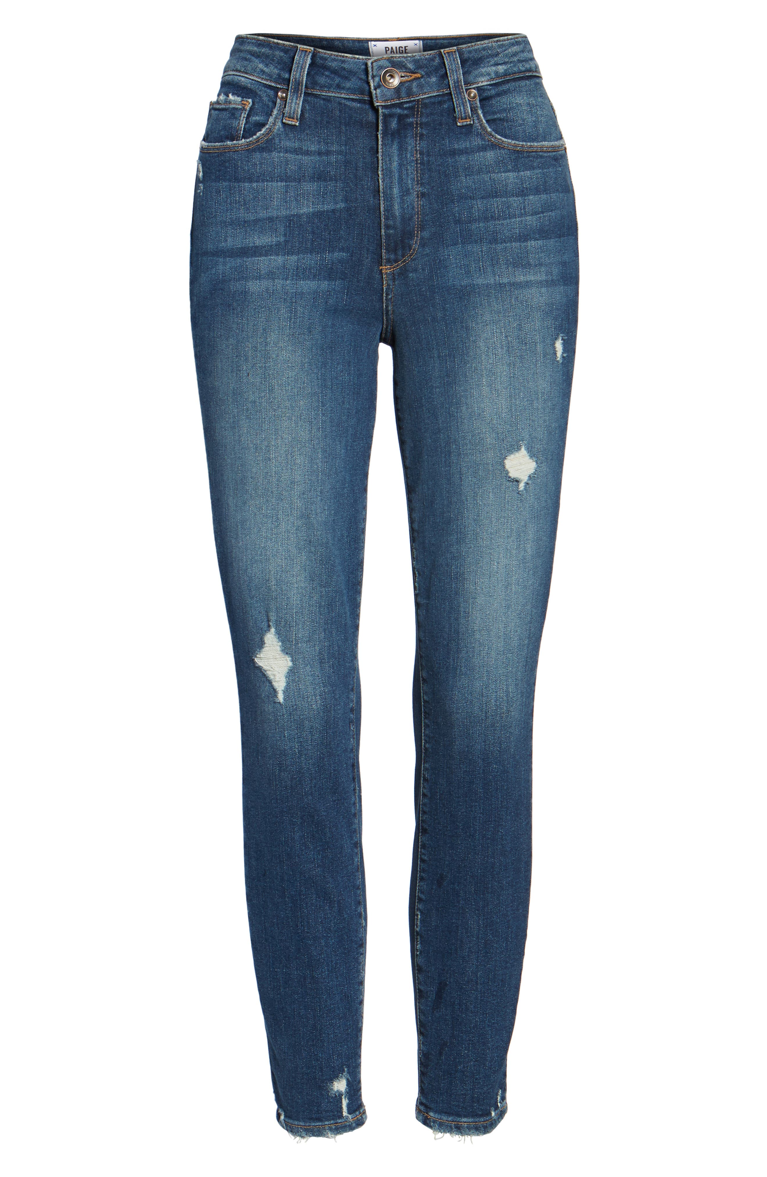 Transcend - Hoxton High Waist Crop Skinny Jeans,                             Alternate thumbnail 6, color,                             400