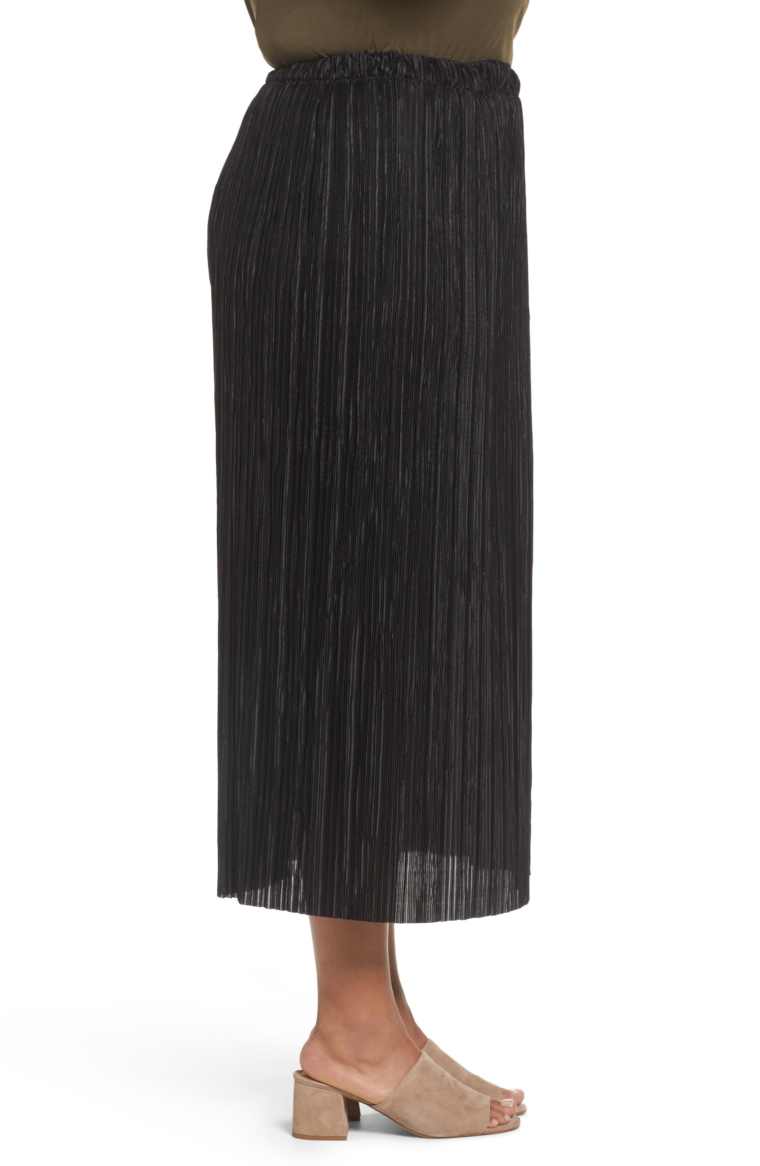 Crinkle Midi Skirt,                             Alternate thumbnail 3, color,                             001