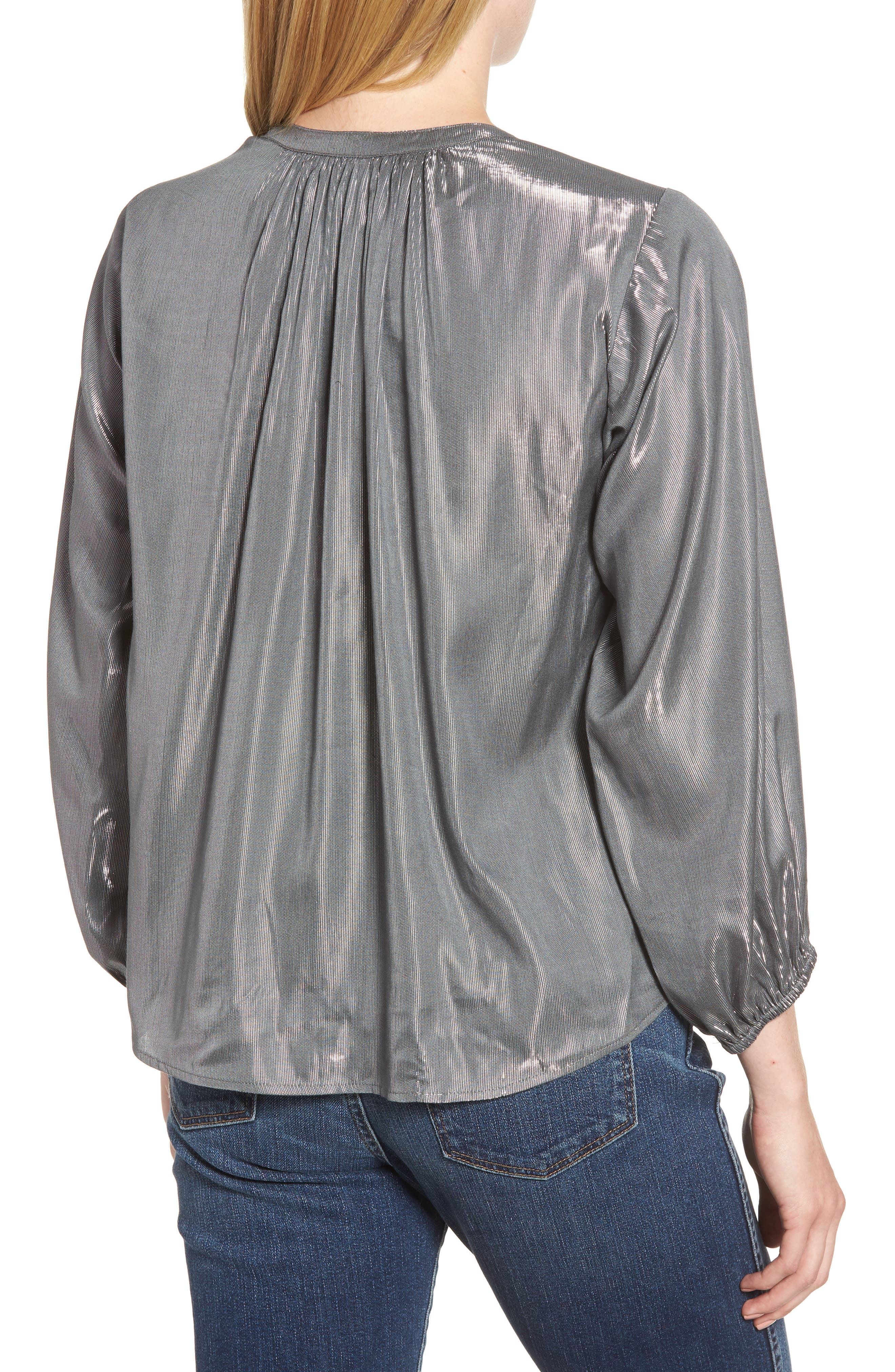 Lamé Henley Blouse,                             Alternate thumbnail 2, color,                             GUNMETAL