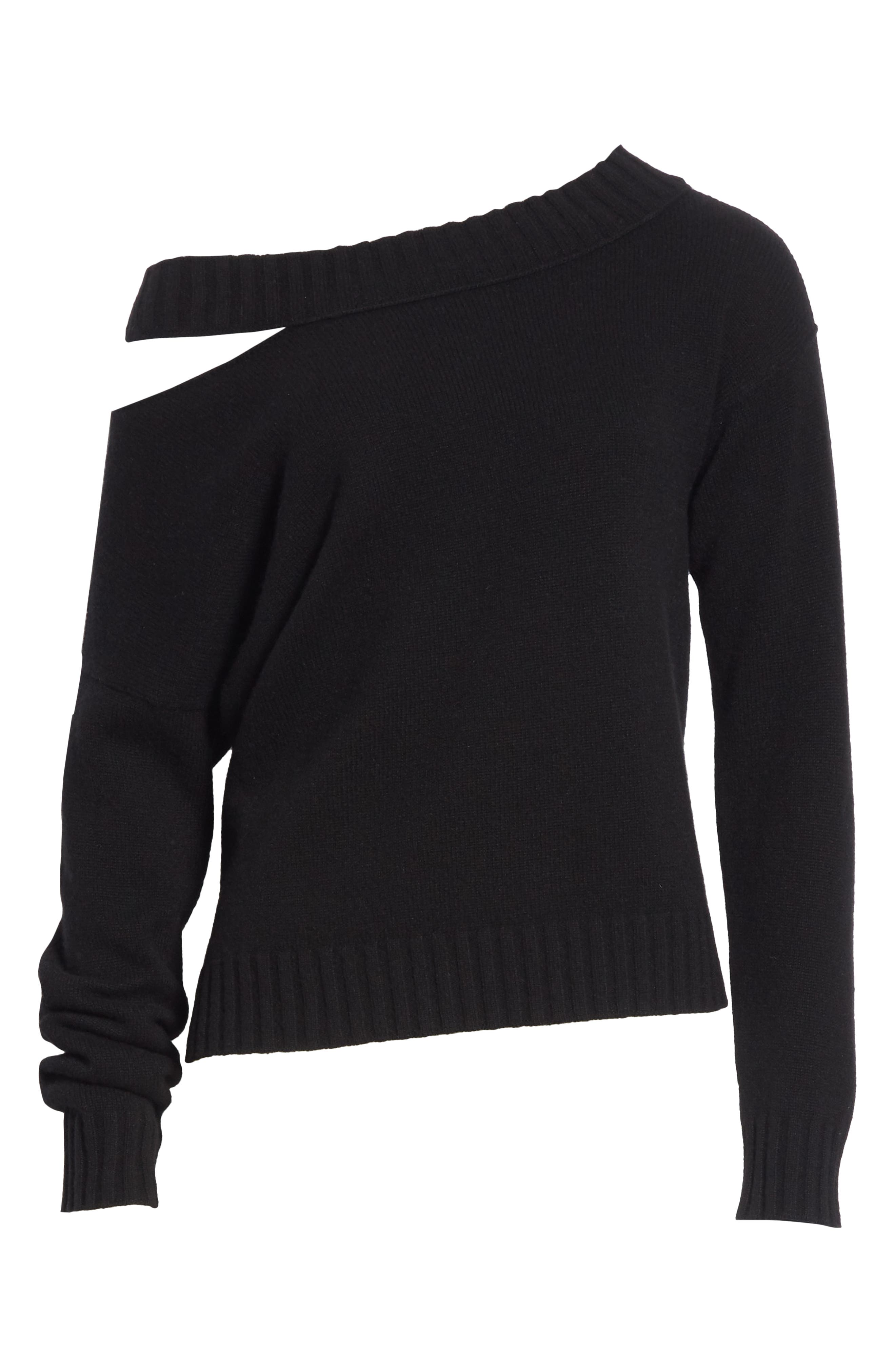 One Shoulder Slit Pullover Sweater,                             Alternate thumbnail 6, color,                             001