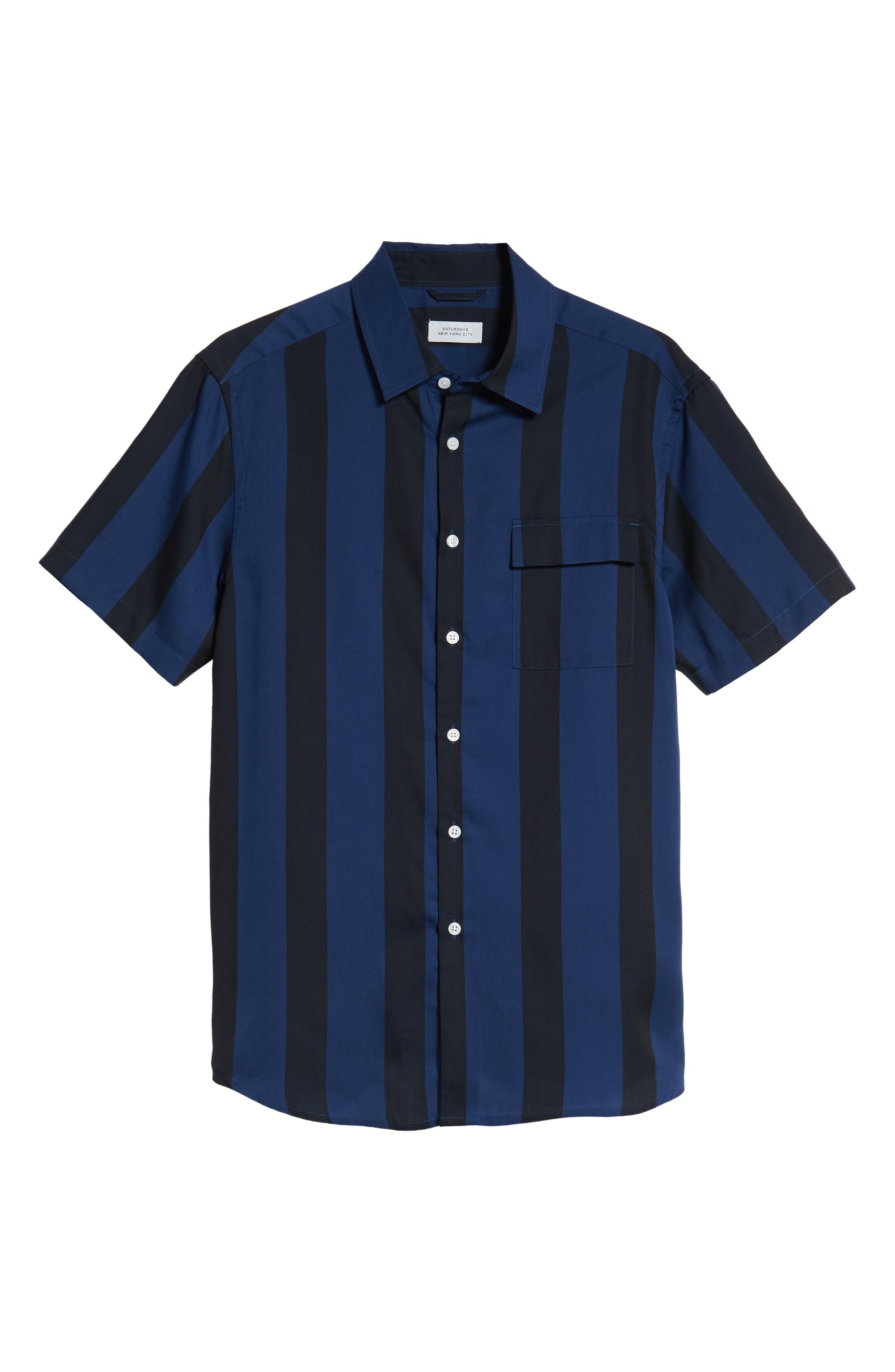 SATURDAYS NYC,                             Saturdays Nico Broad Stripe Woven Shirt,                             Alternate thumbnail 5, color,                             001