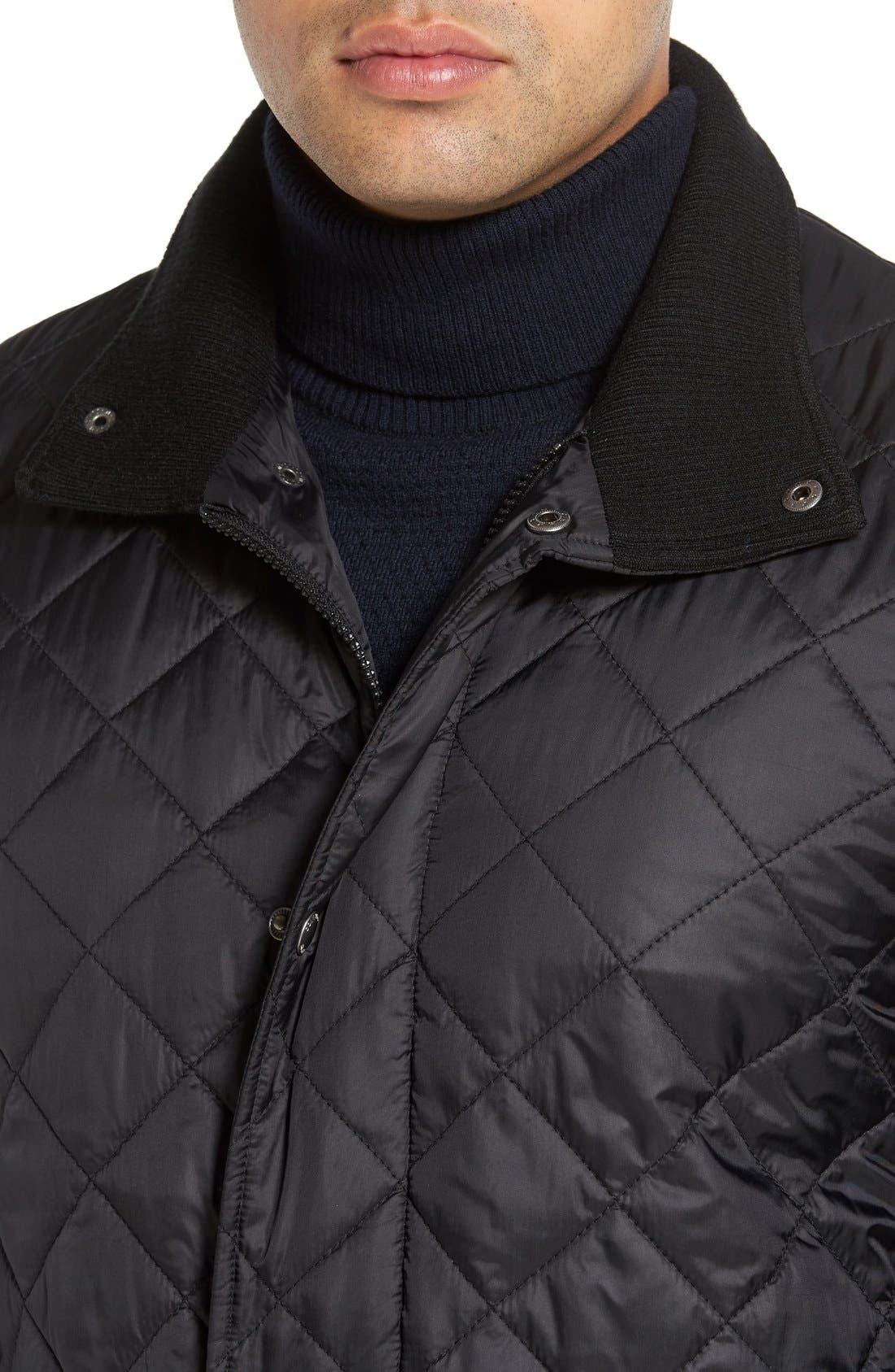 Diamond Quilted Jacket,                             Alternate thumbnail 4, color,                             BLACK