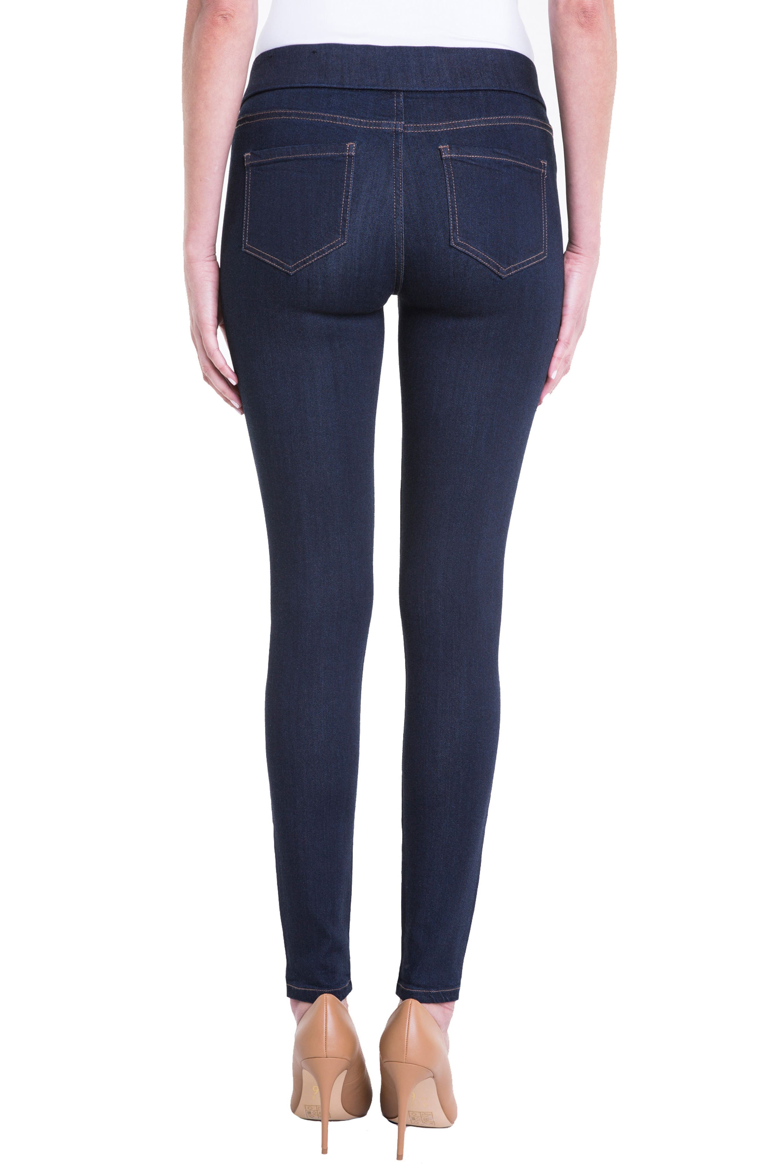 Sienna Pull-On Knit Denim Leggings,                             Alternate thumbnail 2, color,                             INDIGO RINSE